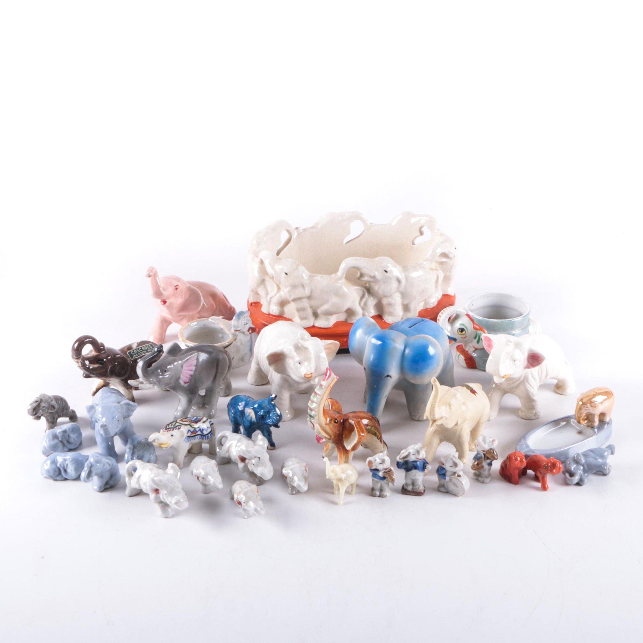 Assorted Ceramic Elephant Figures Including Souvenirs