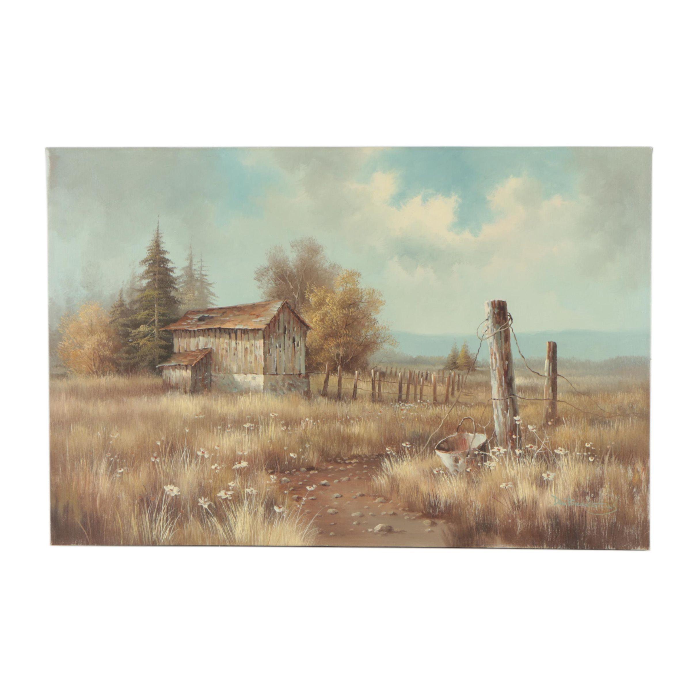 Oil Pastoral Landscape Painting on Canvas