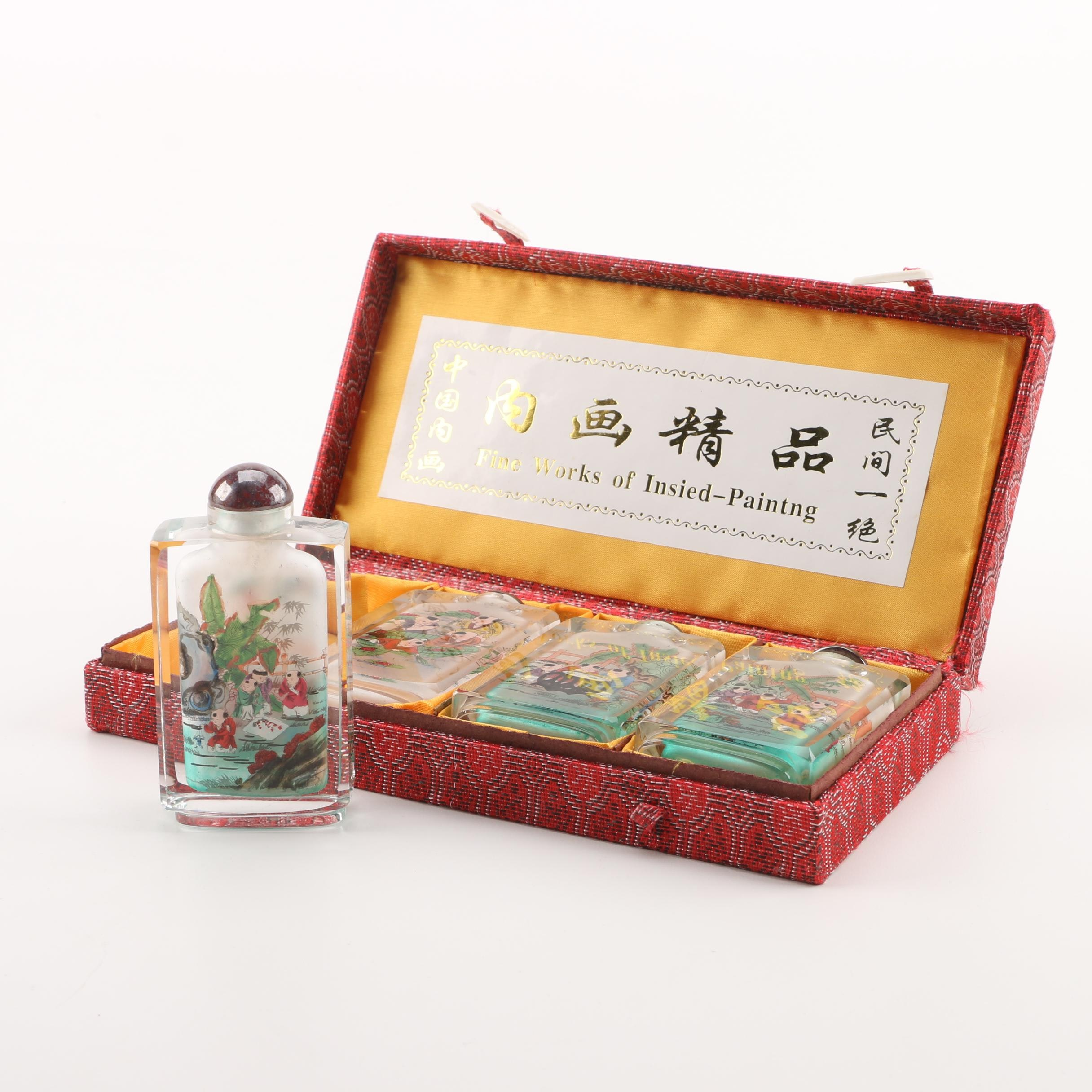 Set of Chinese Reverse Painted Glass Snuff Bottles
