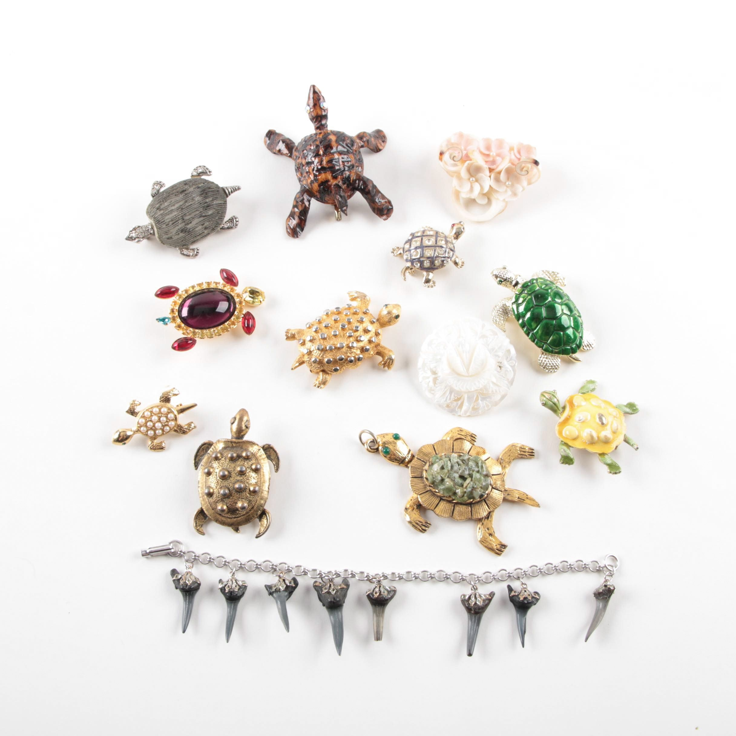 Assorted Costume Brooches, Bracelets, Brooches