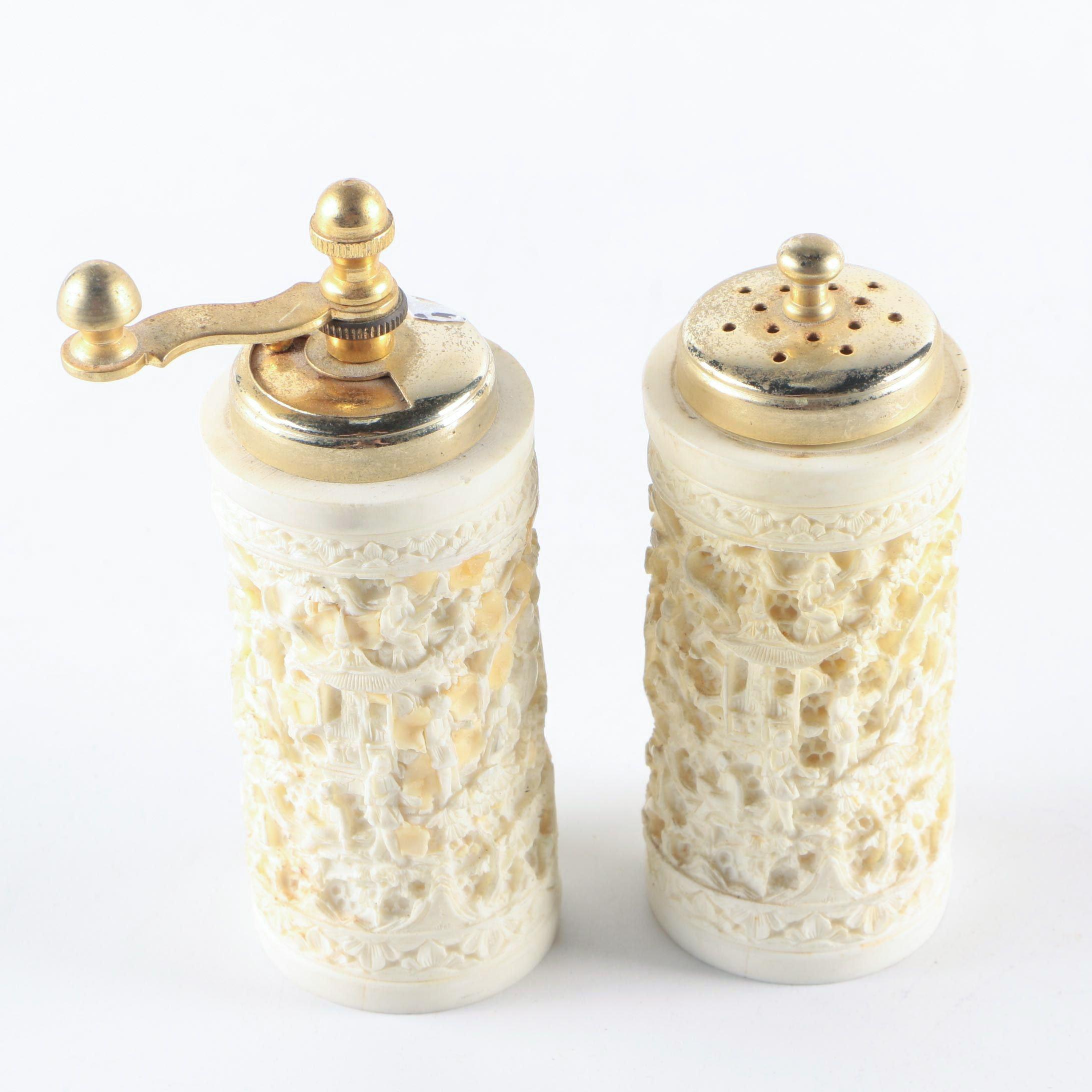Italian Faux Ivory Salt and Pepper Set