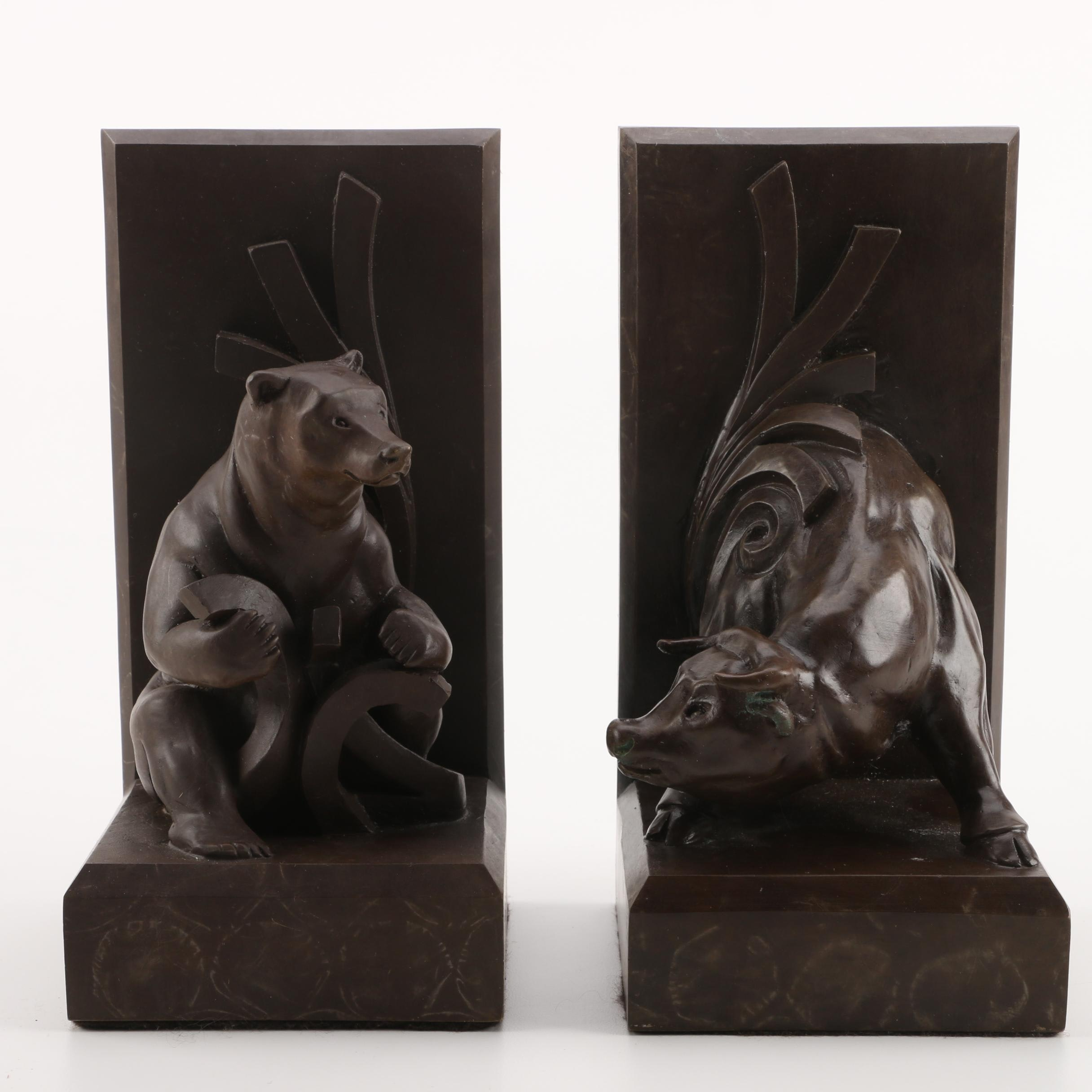Marble Art Deco Style Bull and Bear Bookends
