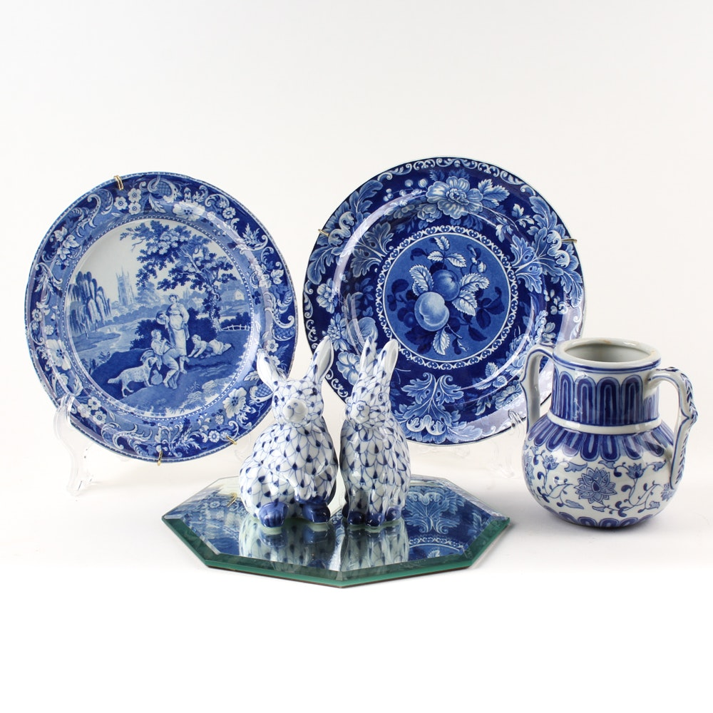 Blue and White Tableware and Figurines Featuring Andrea by Sadek