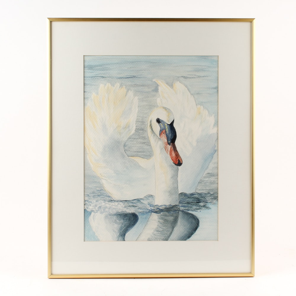 Watercolor Painting of a Swan