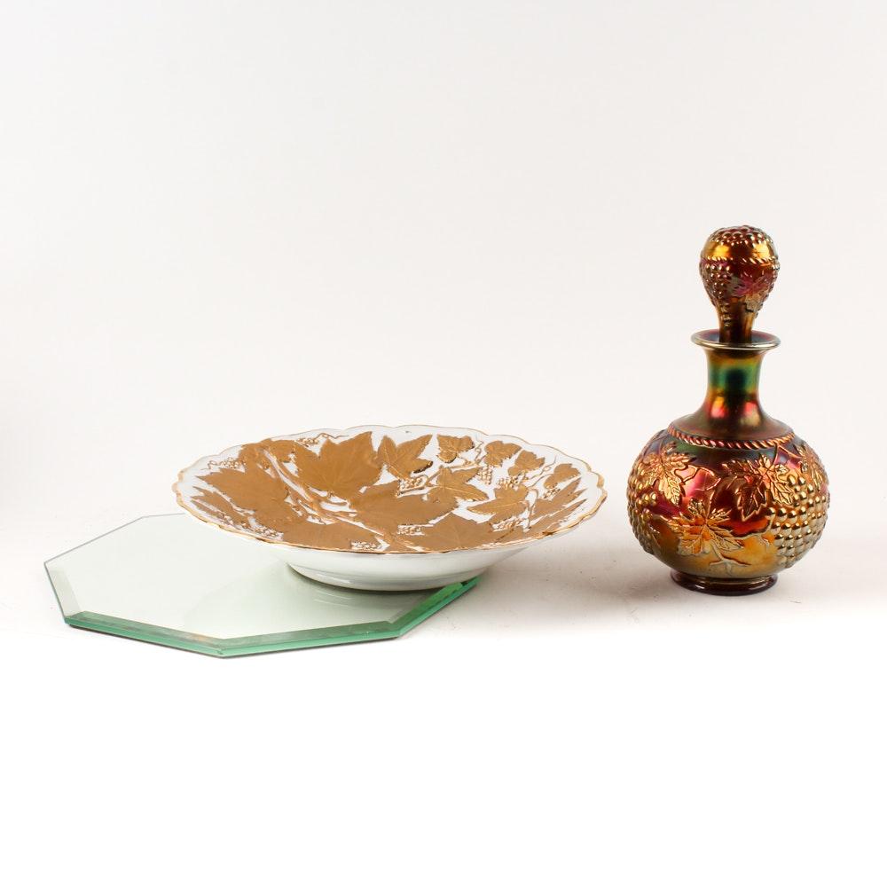 Vintage Carnival Glass Bottle and Charles Sadak Porcelain Plate