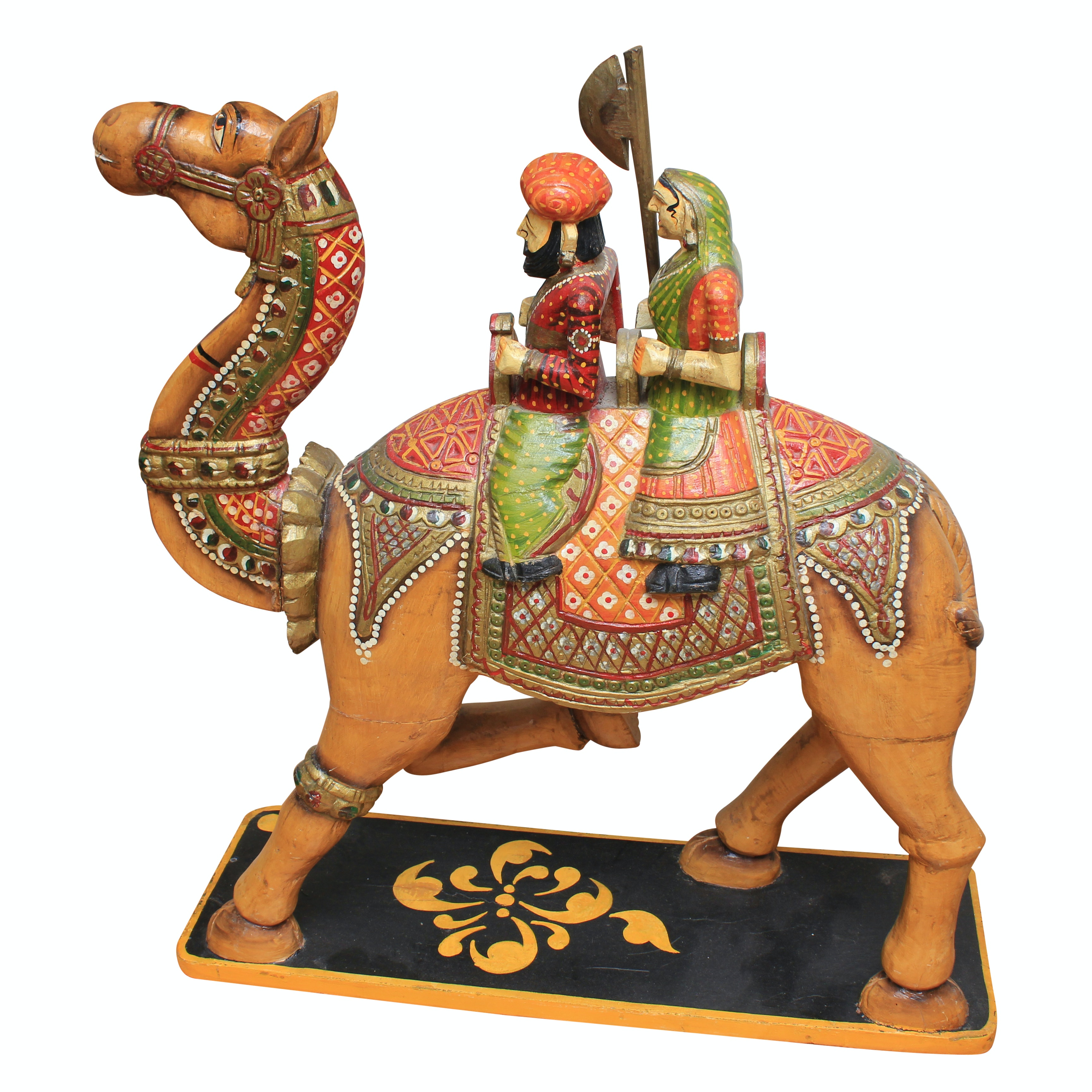 Indian Inspired Polychrome Wooden Sculpture of Figures Riding a Camel