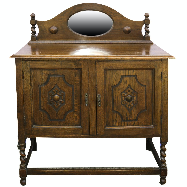 Vintage Jacobean Revival Style Oak Buffet