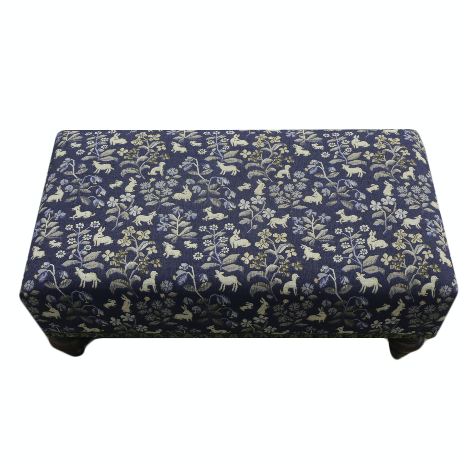Vintage Upholstered Ottoman in Custom Fabric