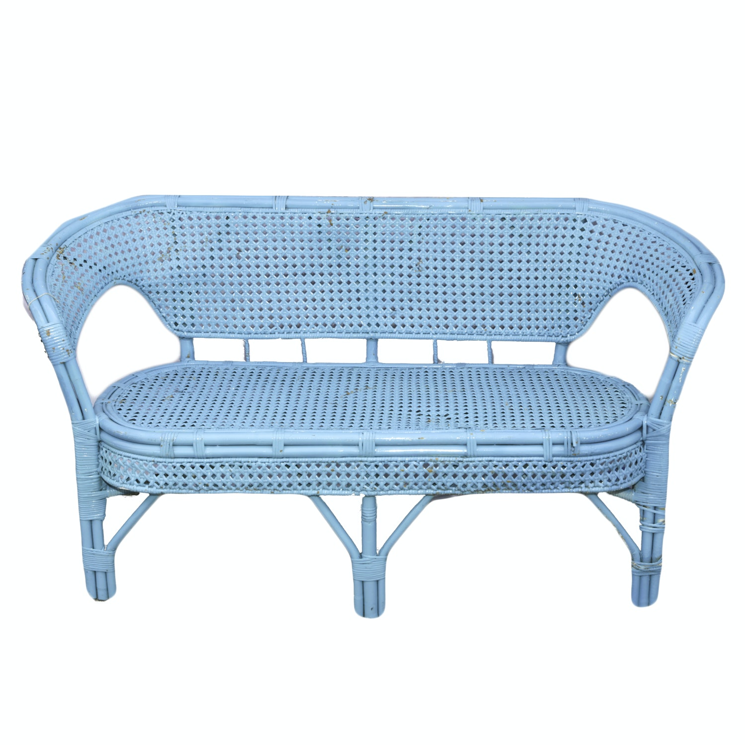 Blue Painted Rattan and Caned Settee