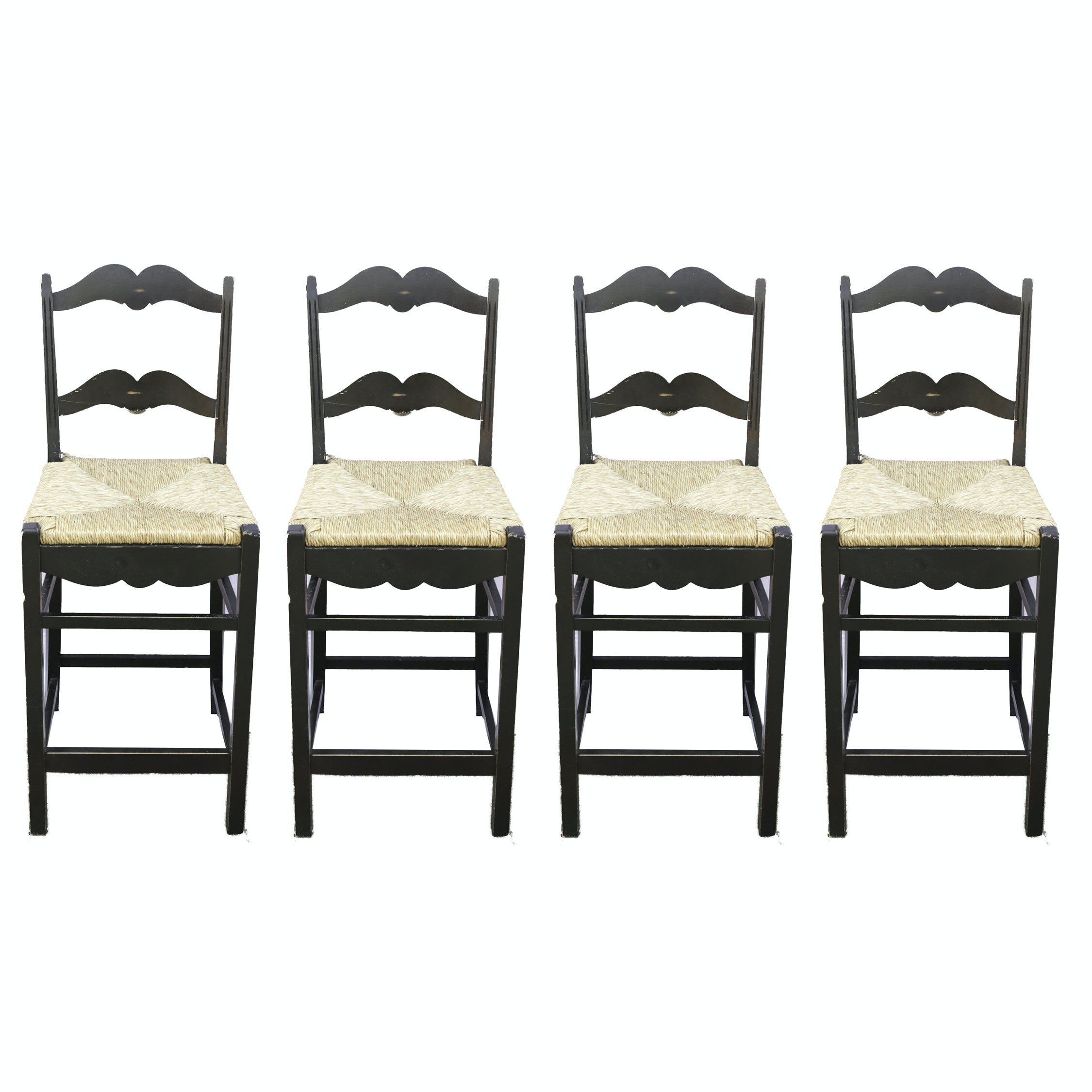Set of Rush Seat Counter Chairs