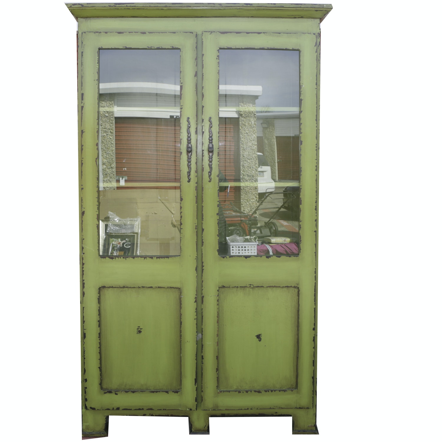 Contemporary Distressed Painted China Cabinet