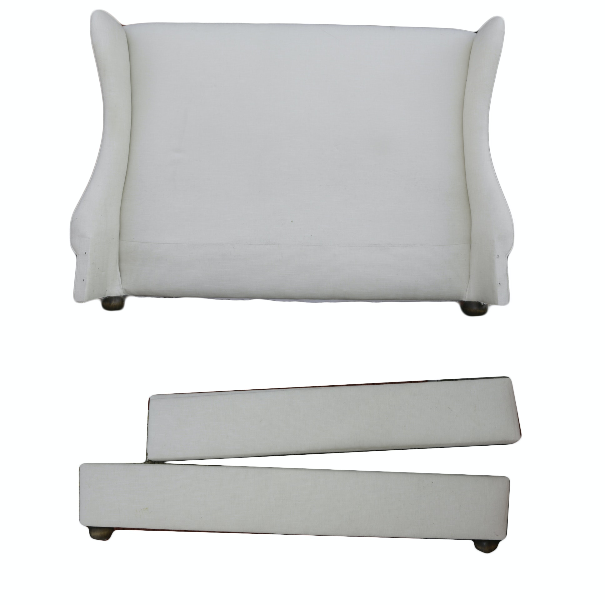 Upholstered Winged Bed Frame in King-Size