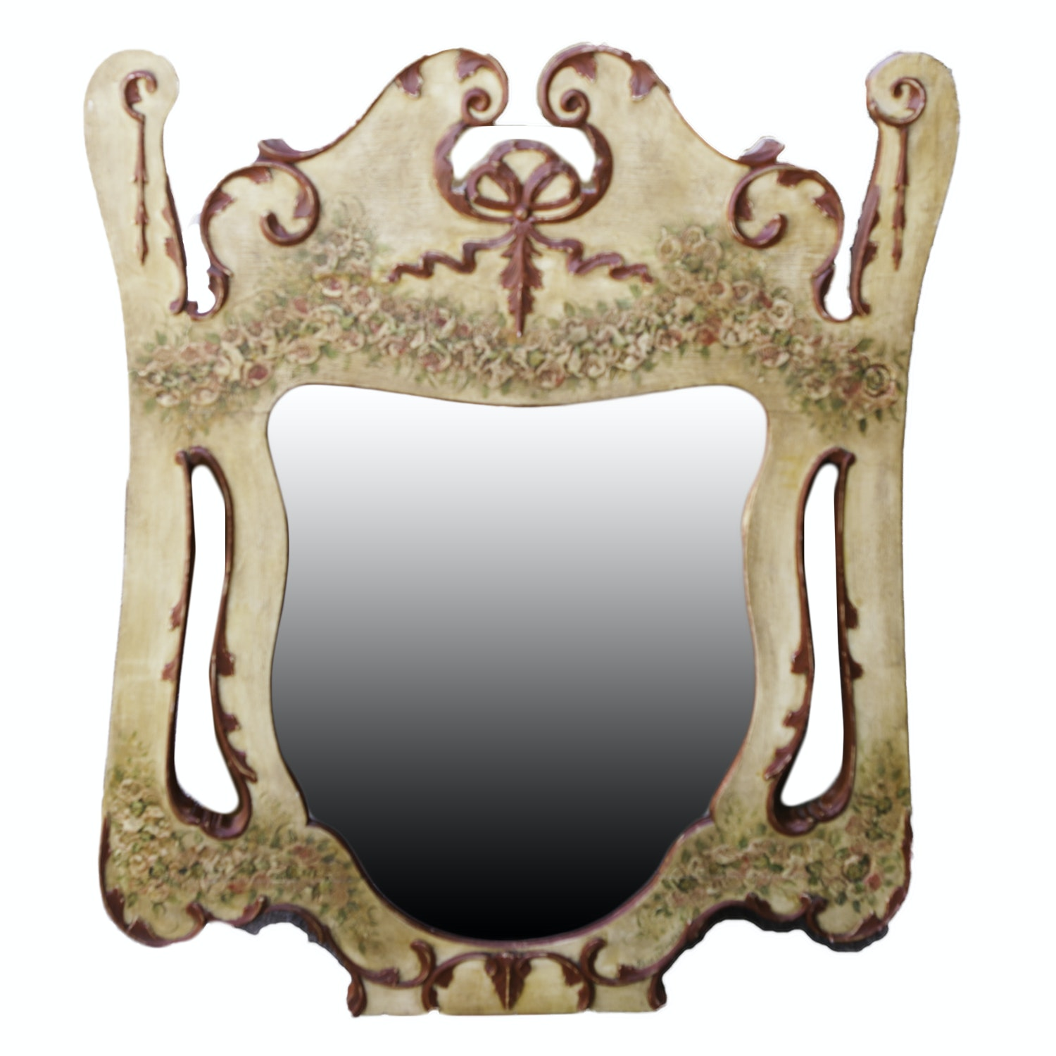 Vintage Neo-Classical Style Polychrome Mirror by Rene Humphrey