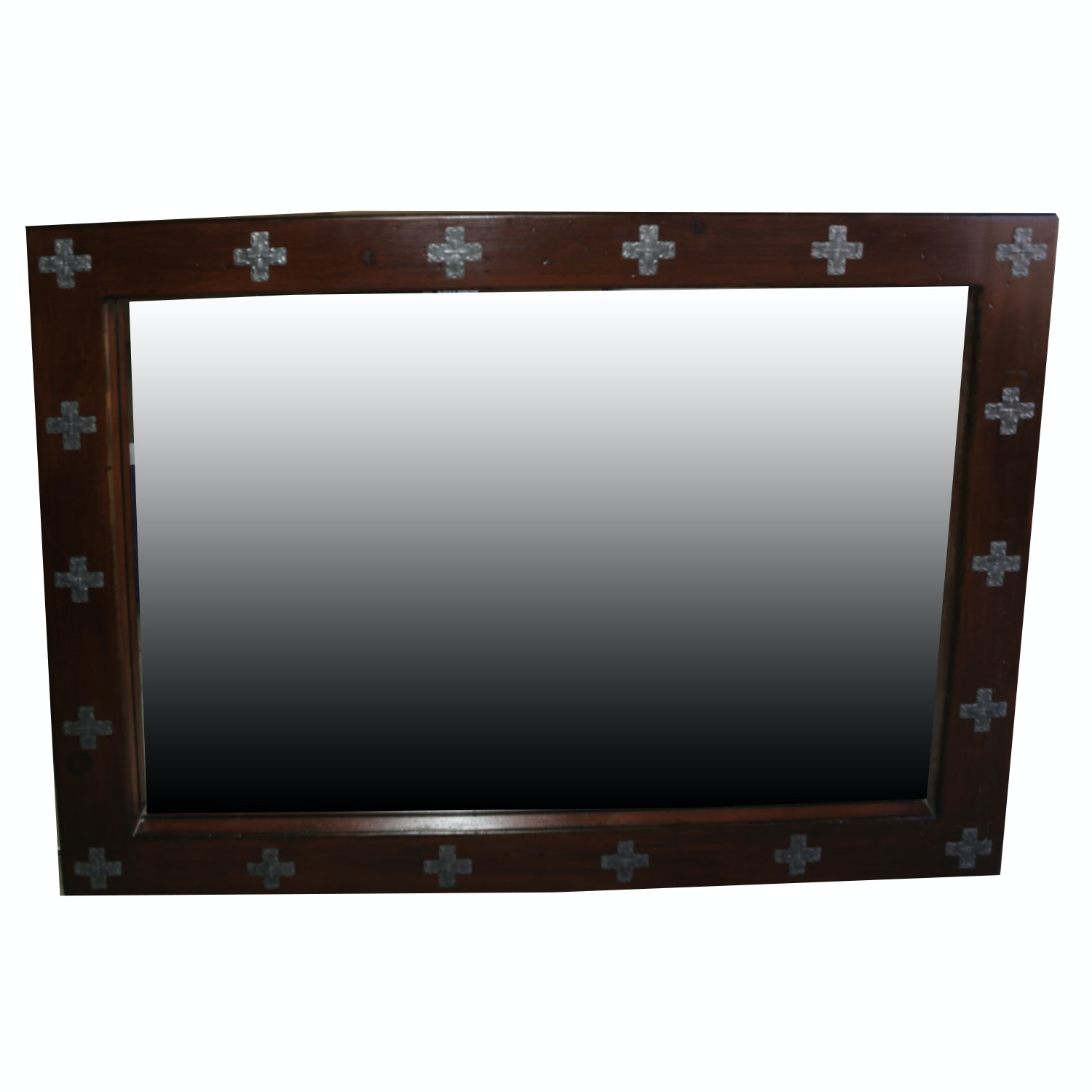 Wood Framed Wall Mirror with Repoussé Tin Cross Accents