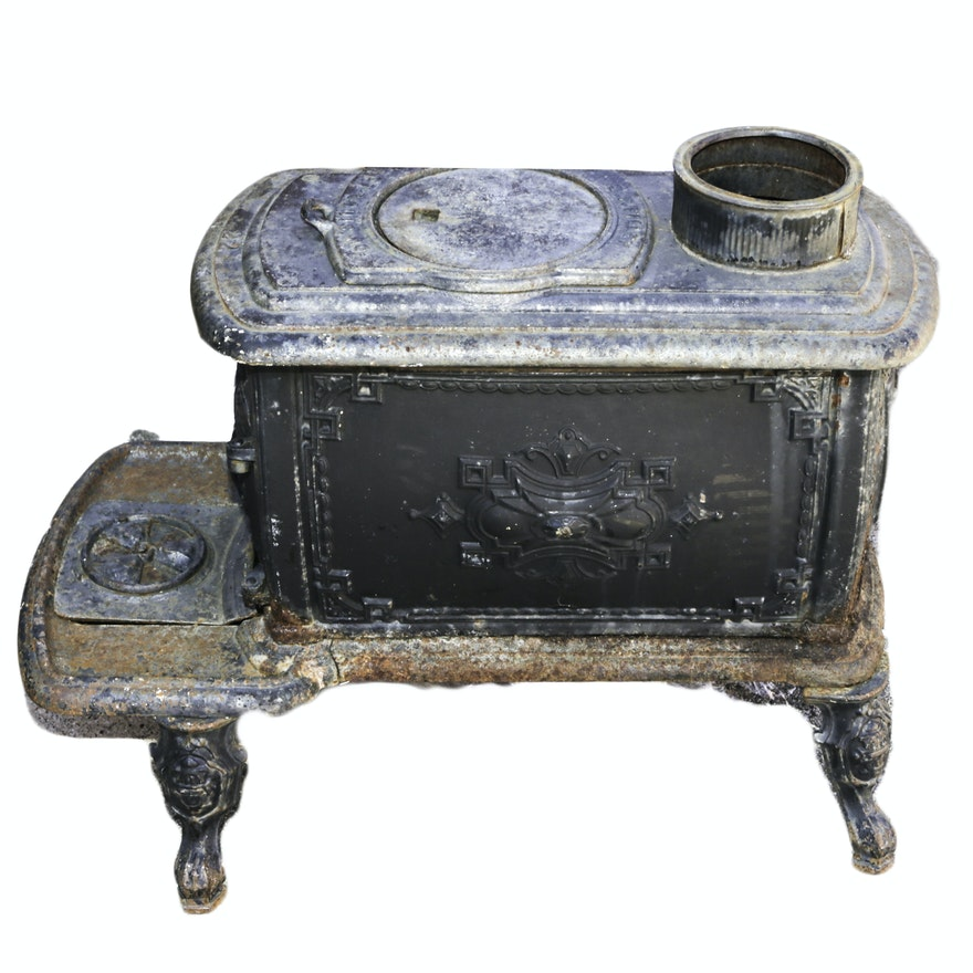 19th Century Cast Iron Excelsior Wood Stove Ebth