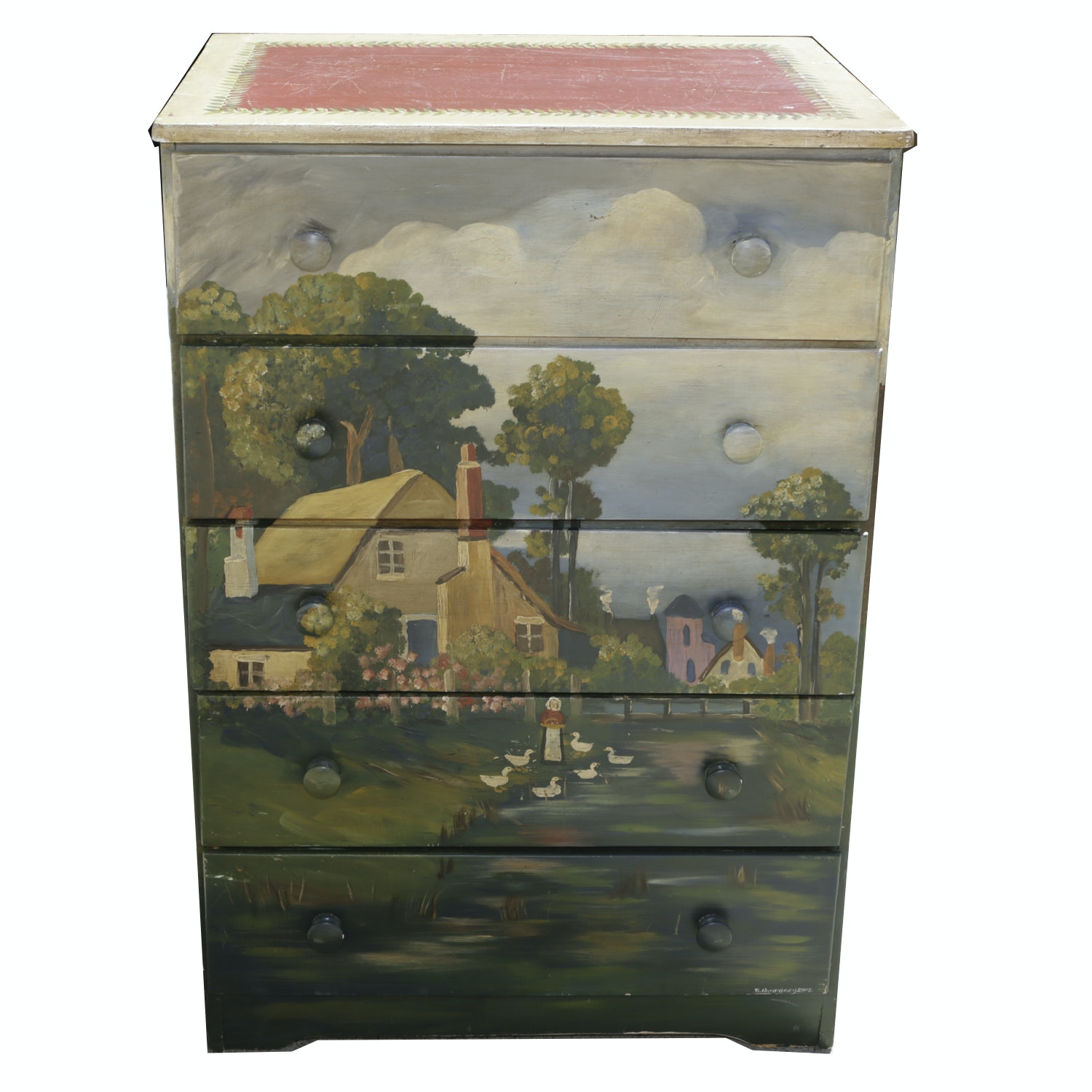 Hand Painted Chest of Drawers and Accessories by Rene Humphrey