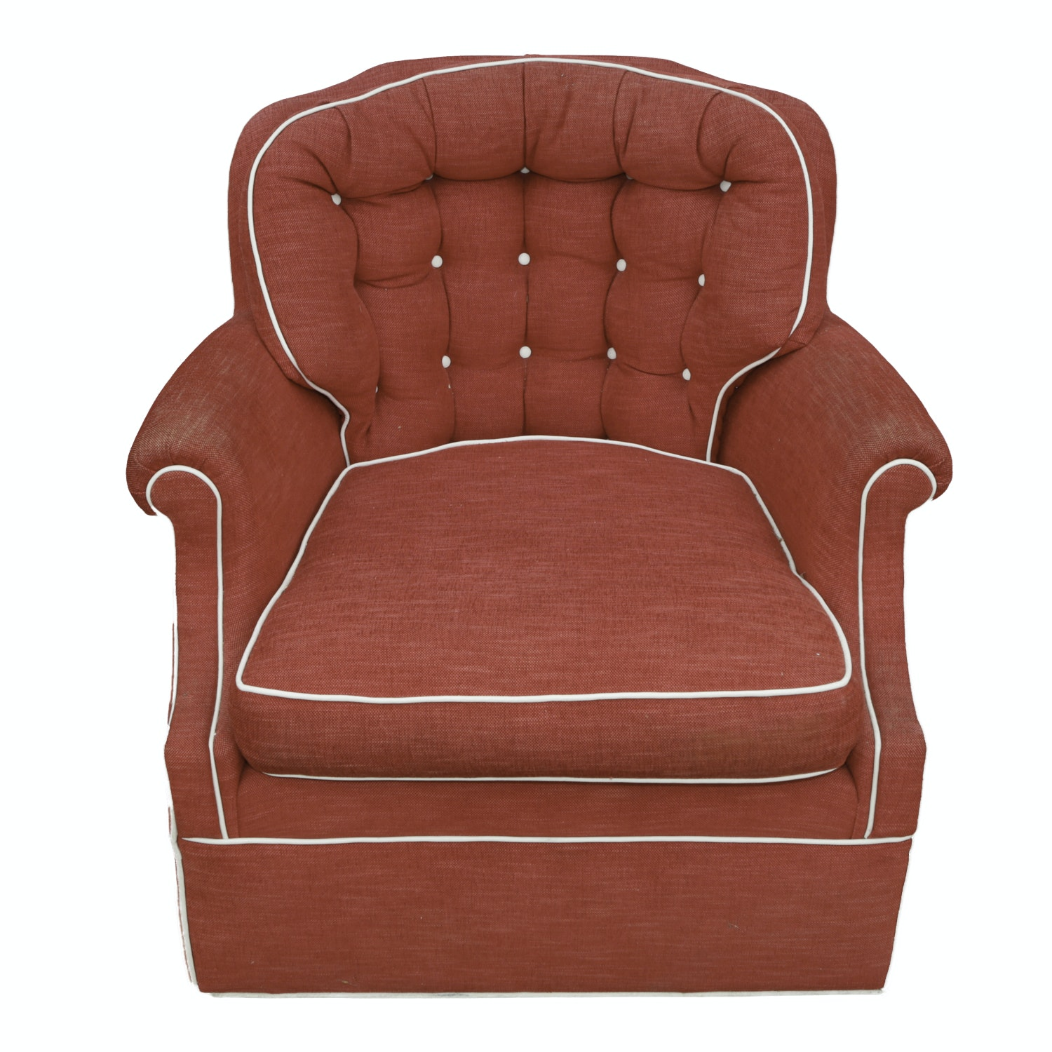 Red Button-Tufted Easy Chair