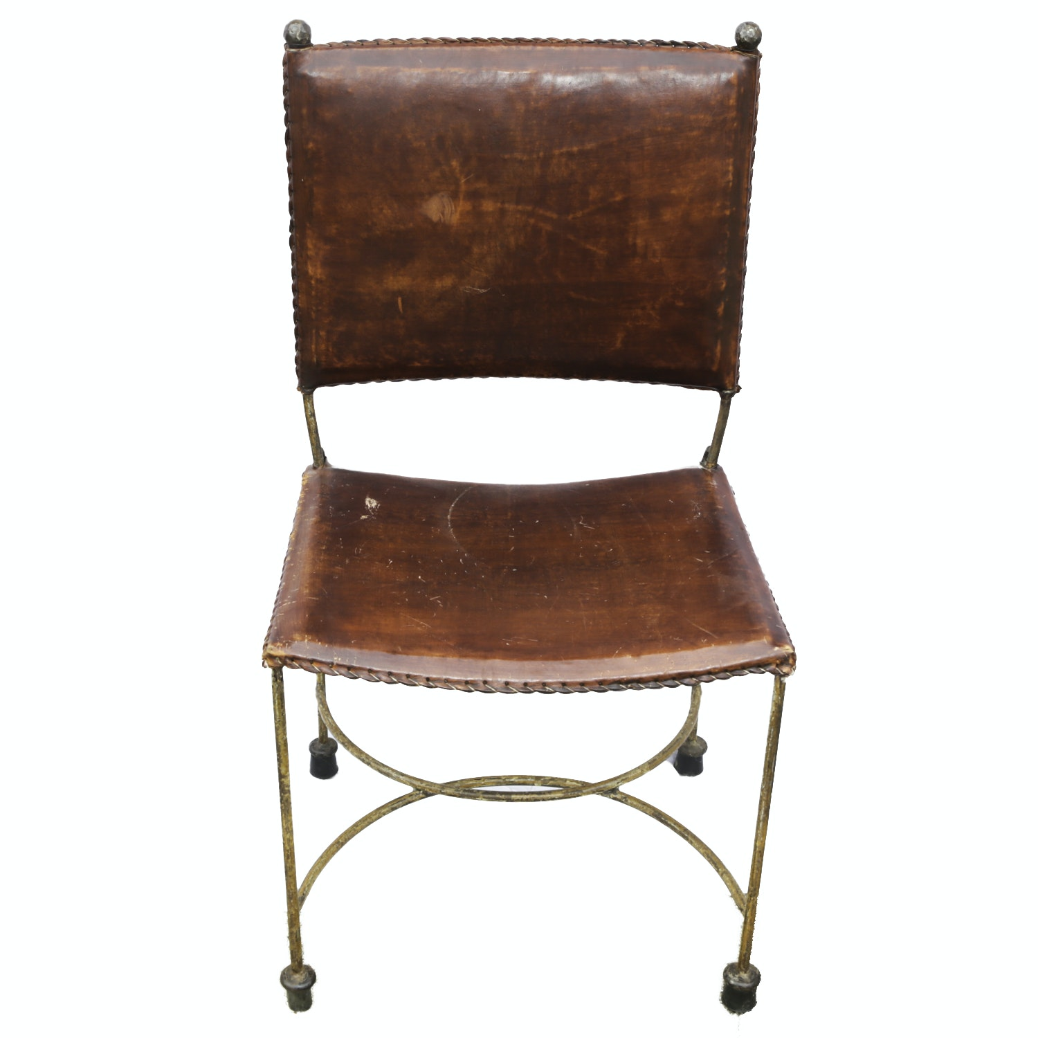 Vintage Italian Wrought Metal and Leather Upholstered Side Chair