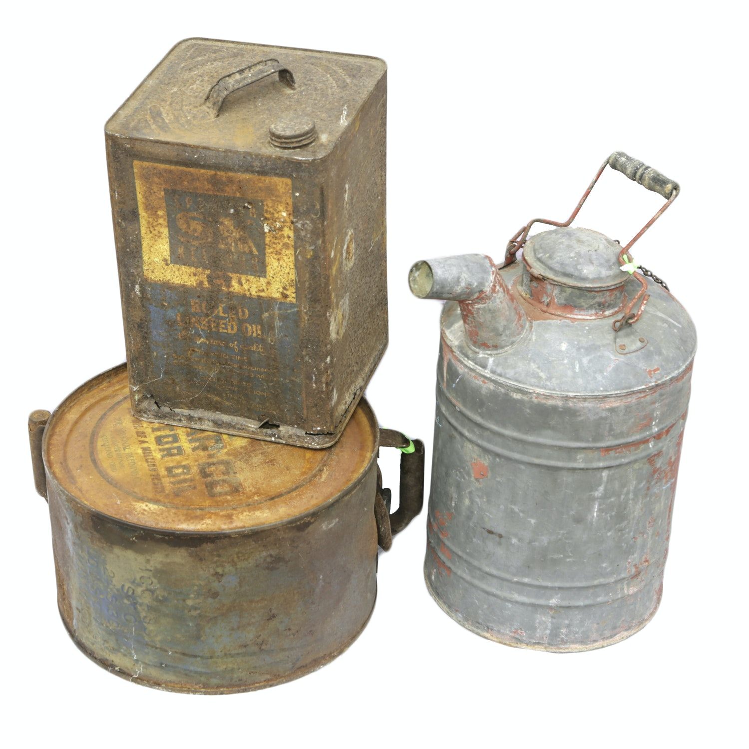 Vintage Linseed Oil Can, Gas Can and Oil Can