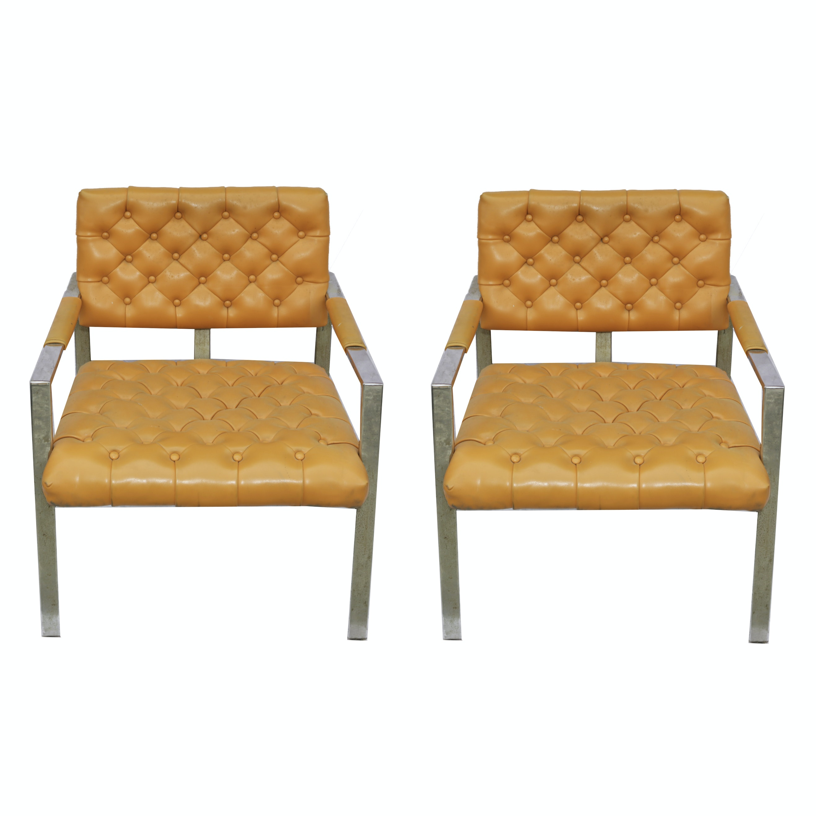 Pair of Mid Century Modern Upholstered Arm Chairs Milo Baughman Thayer Coggin