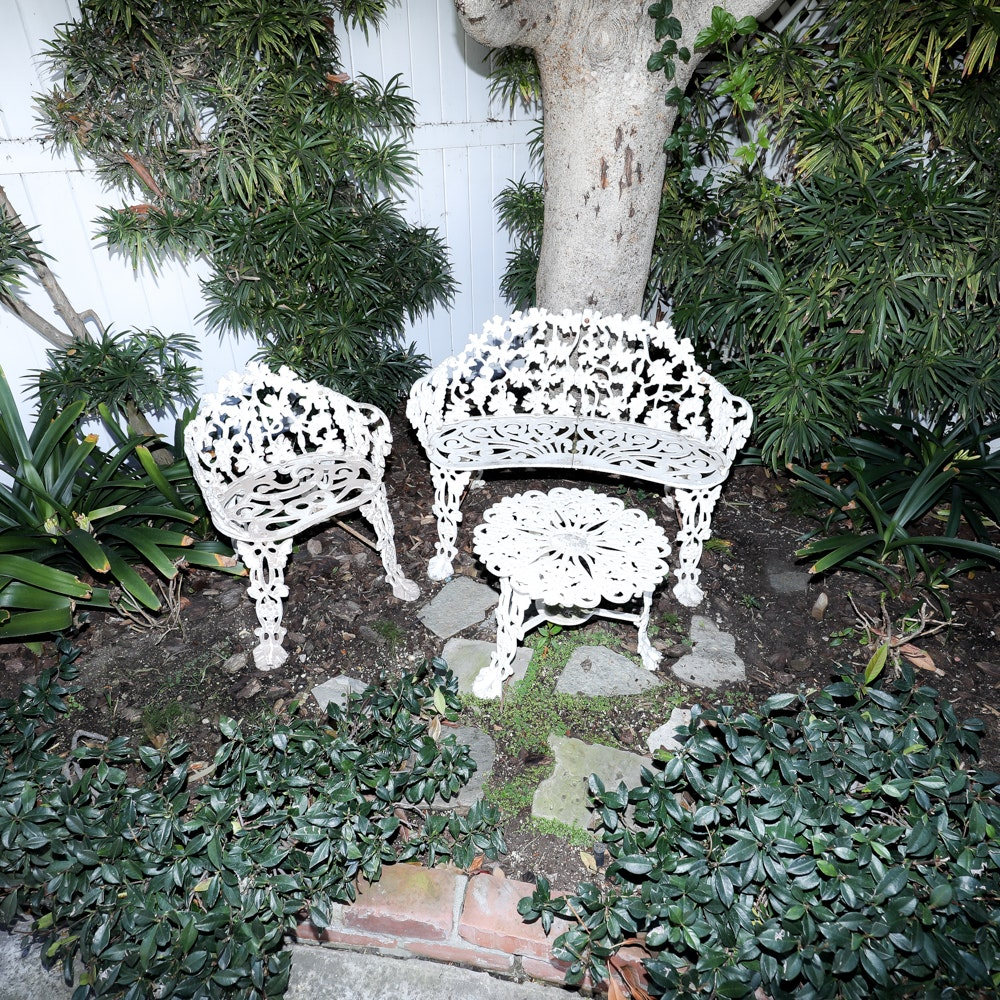 White Outdoor Cast Aluminum Chair, Bench and Table