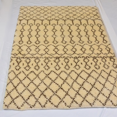 Hand-Knotted Moroccan Design Wool Area Rug