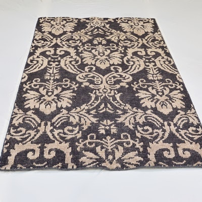 Hand Woven Indian Damask Style Wool and Viscose Area Rug