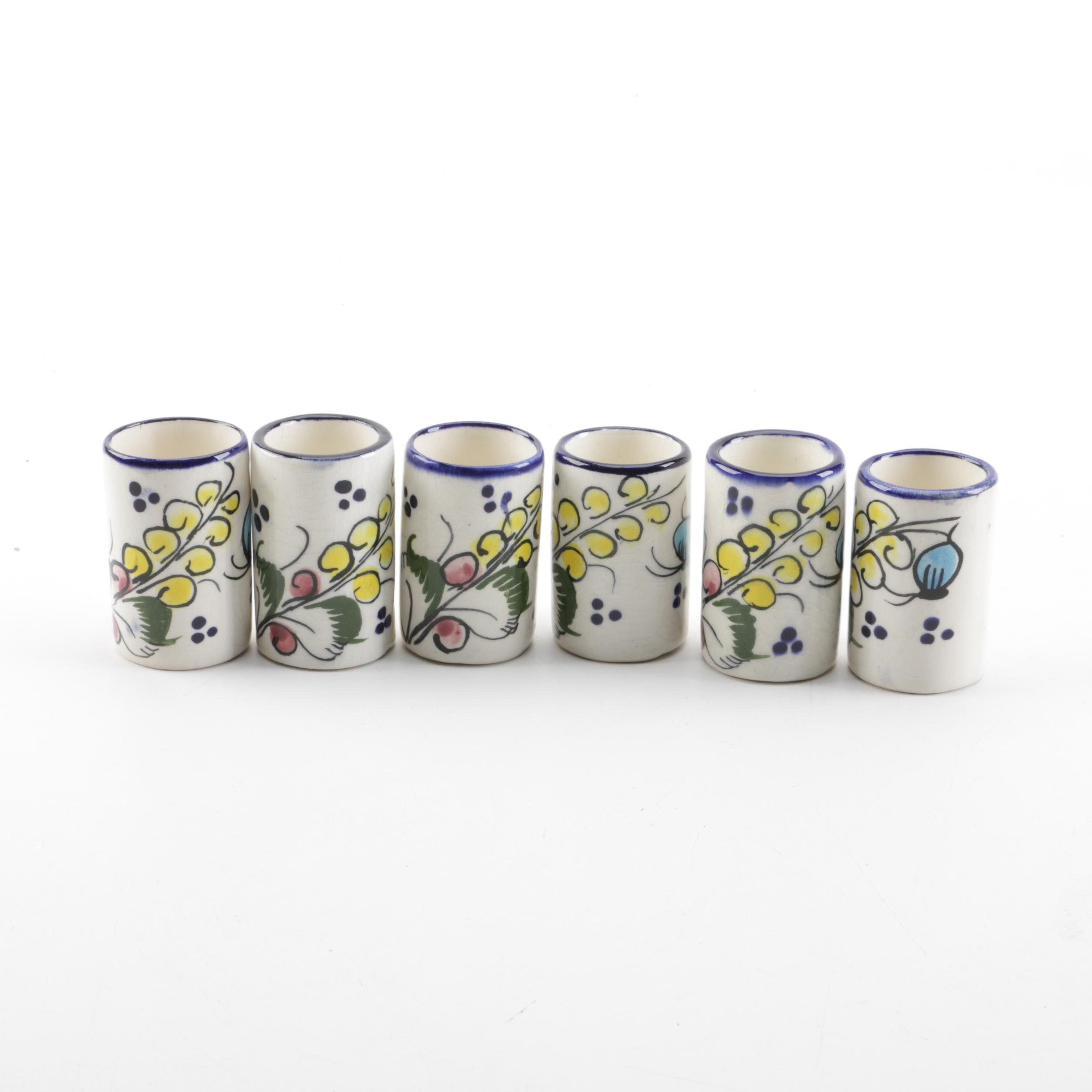 Mexican Hand-Painted Earthenware Shot Glass Set