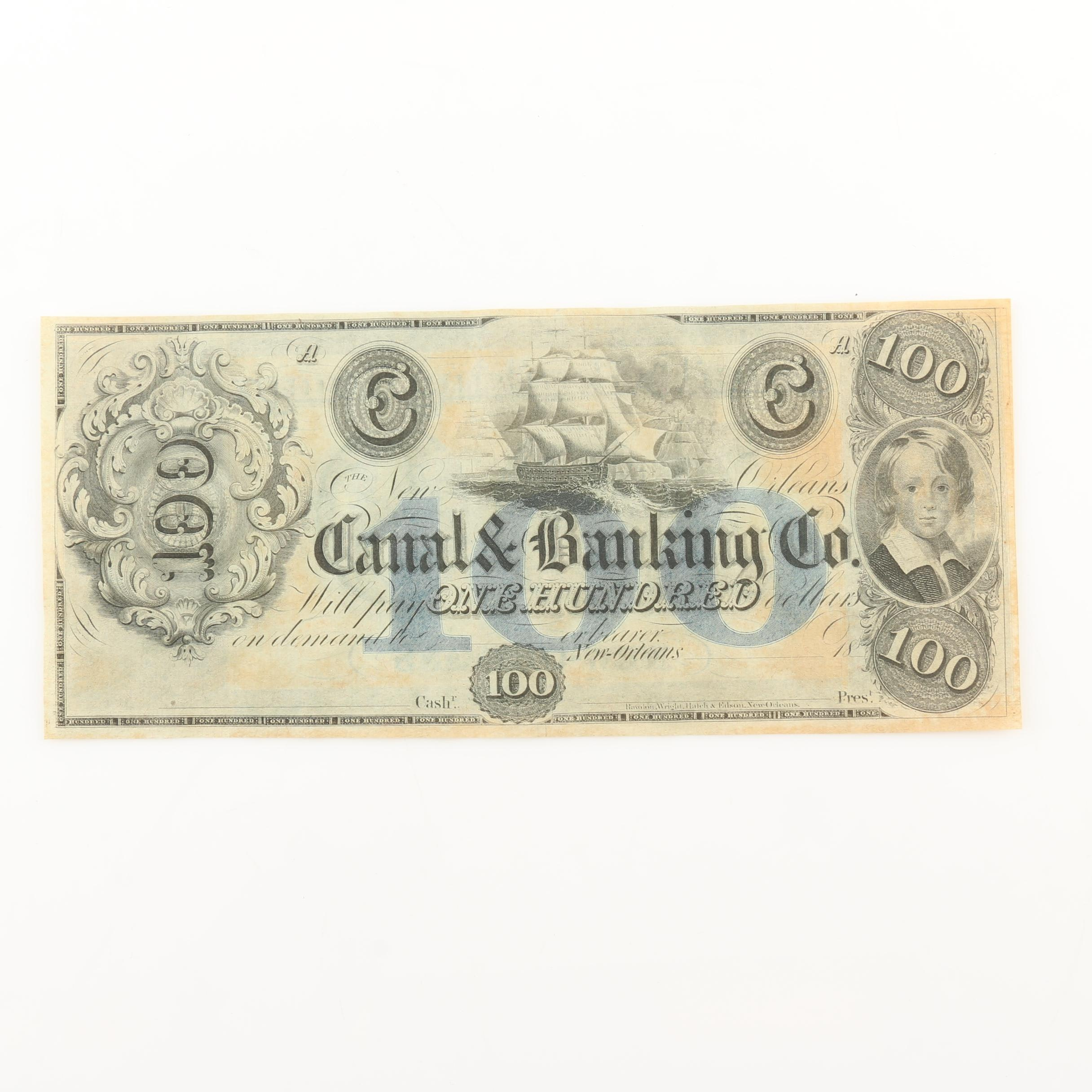 19th Century Obsolete Currency Note from Canal & Banking Company of New Orleans
