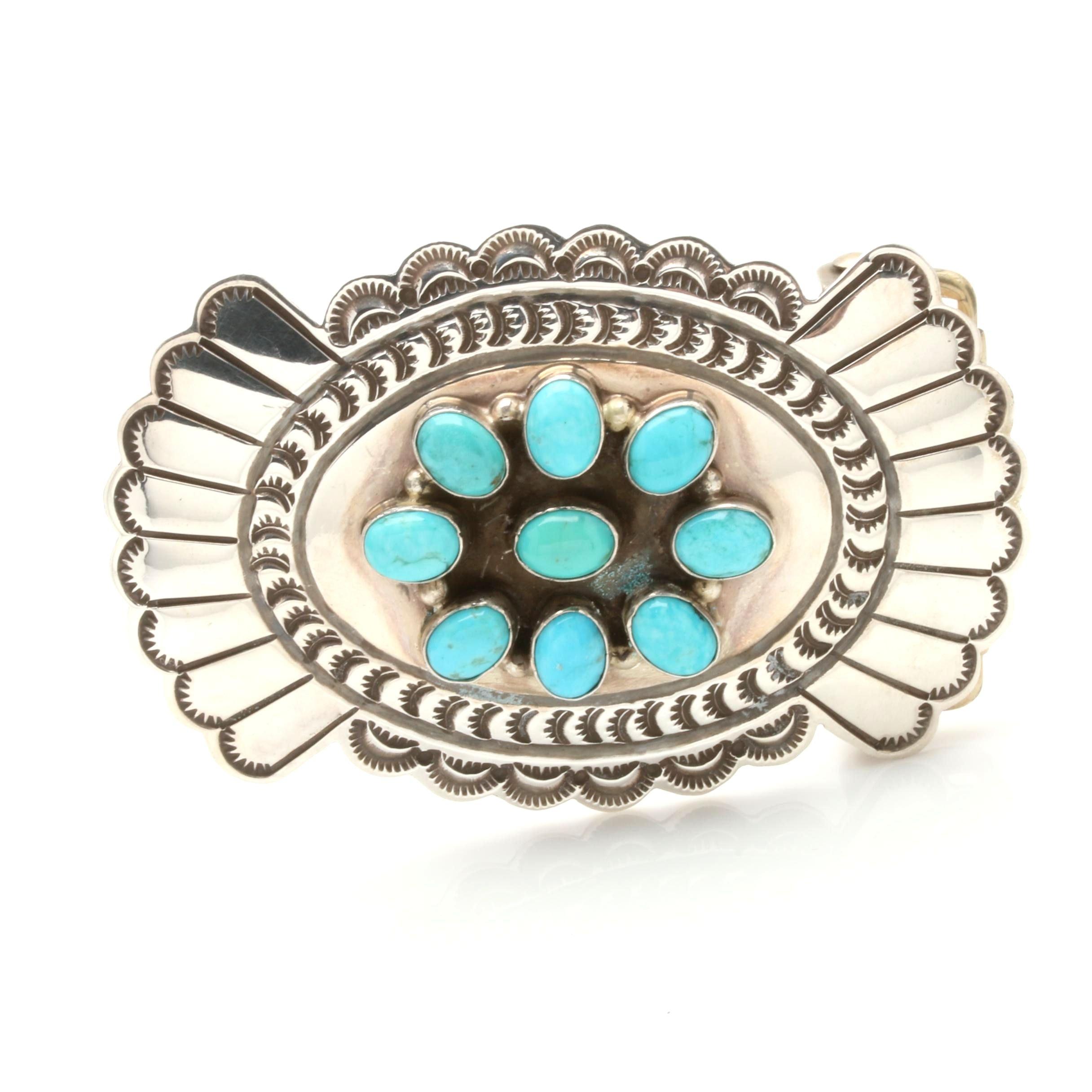 Delbert Delgarito Navajo Diné Sterling Silver Turquoise Belt Buckle