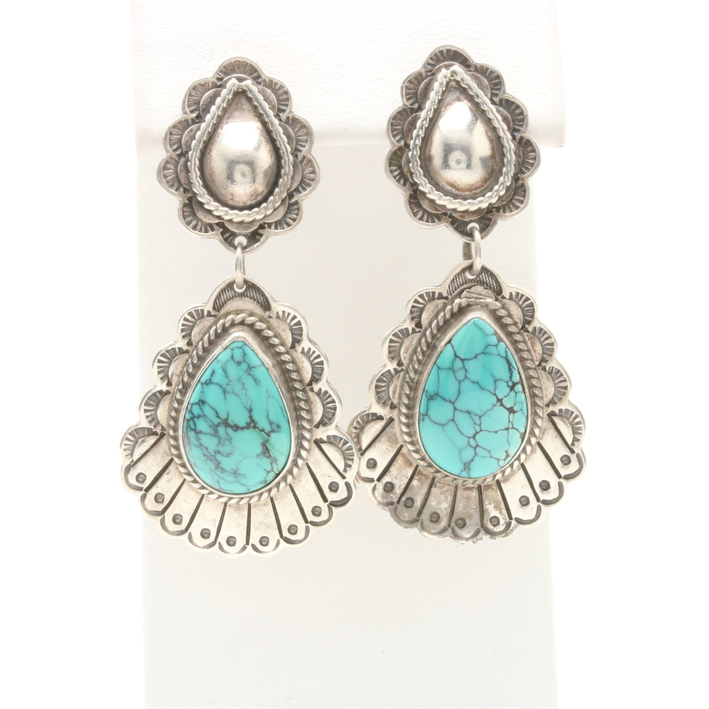 Joe Delgarito and Rudy Willie Navajo Diné Sterling Silver Turquoise Earrings