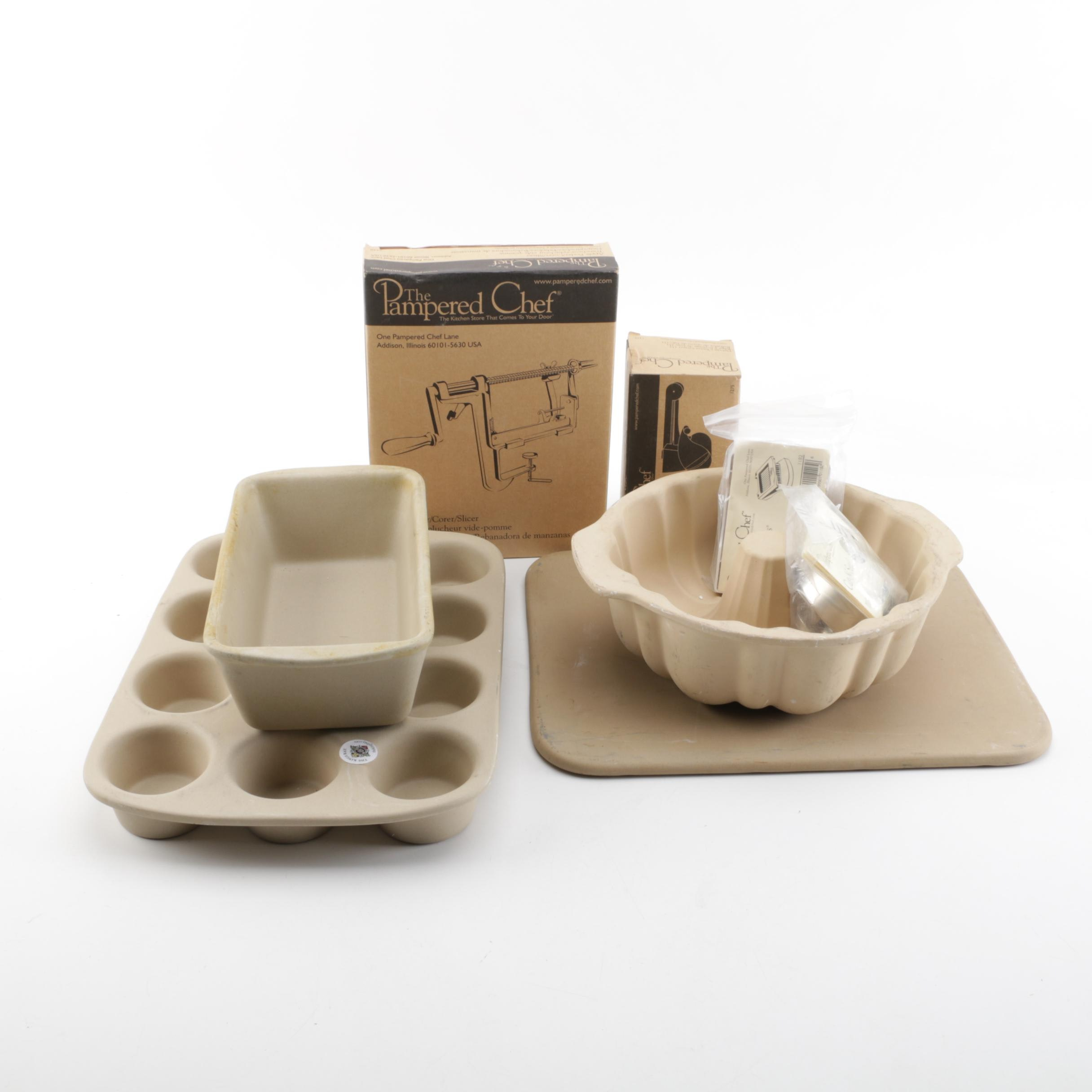 Pampered Chef Stoneware Baking Pans and Cooking Accessories