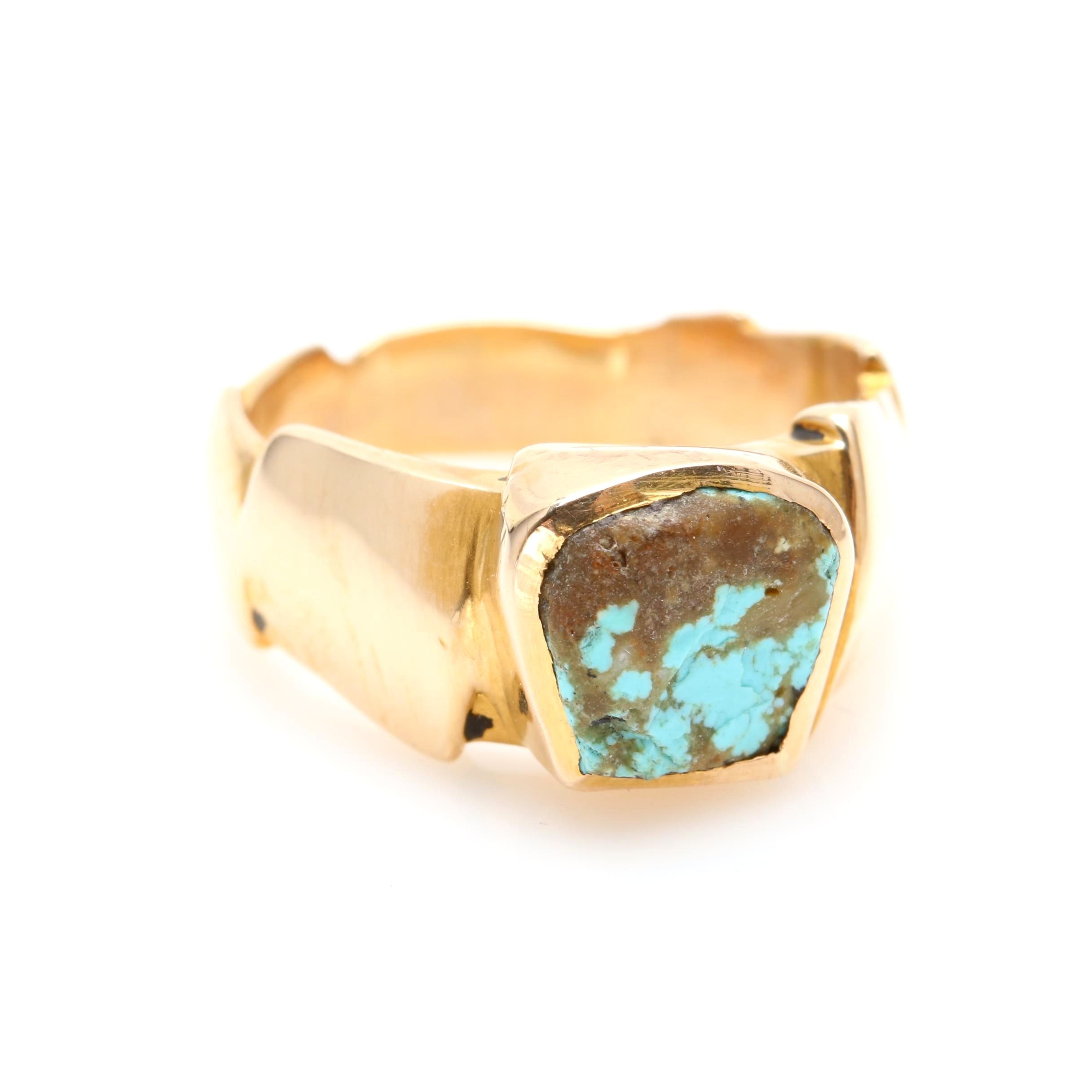 Southwestern Style 14K Yellow Gold Turquoise Ring