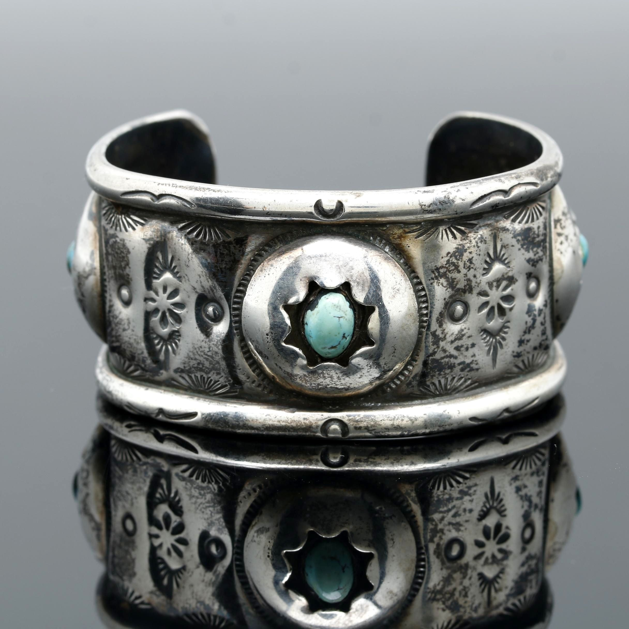 Southwestern Style Sterling Silver Turquoise Cuff Bracelet