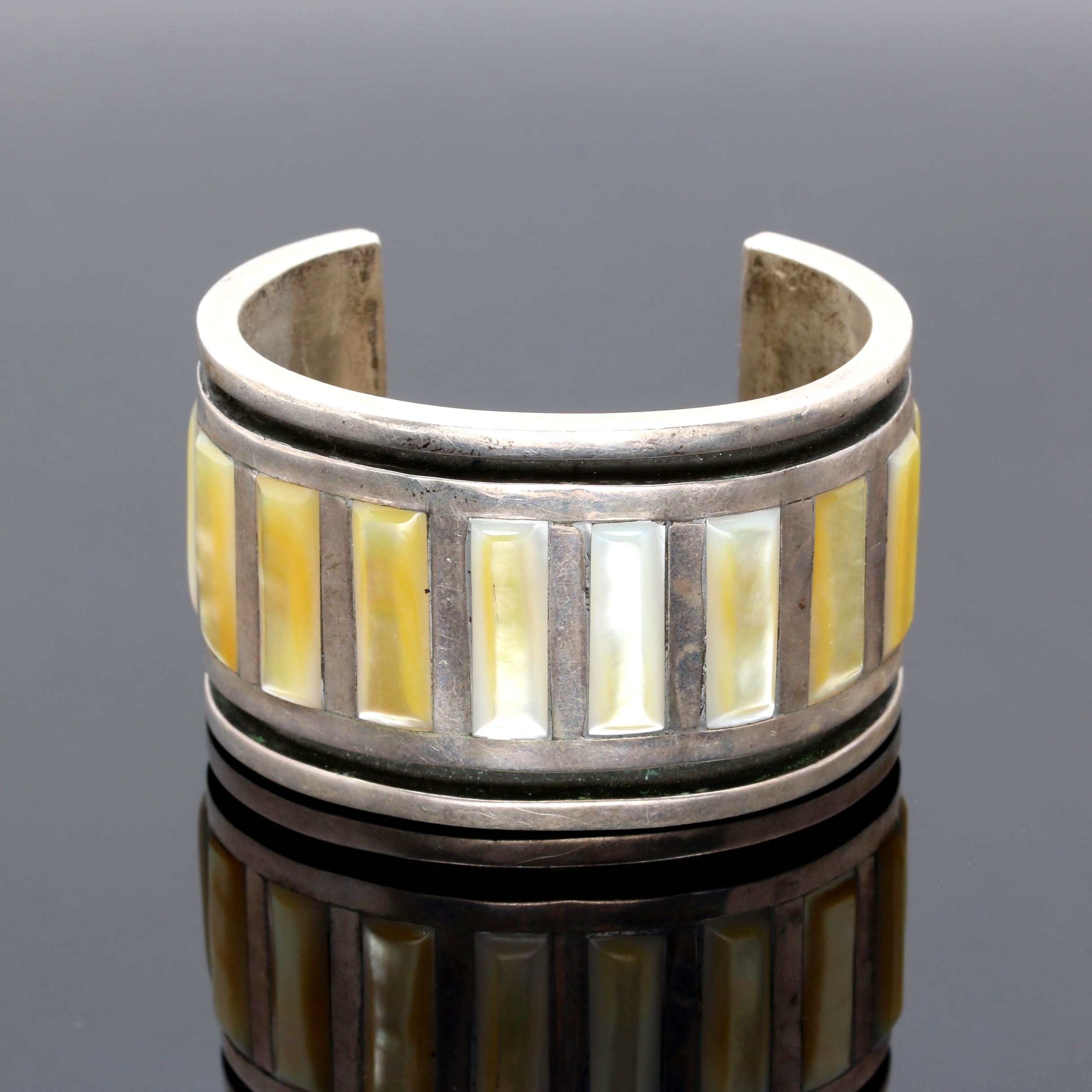 Sterling Silver Mother of Pearl Cuff Bracelet