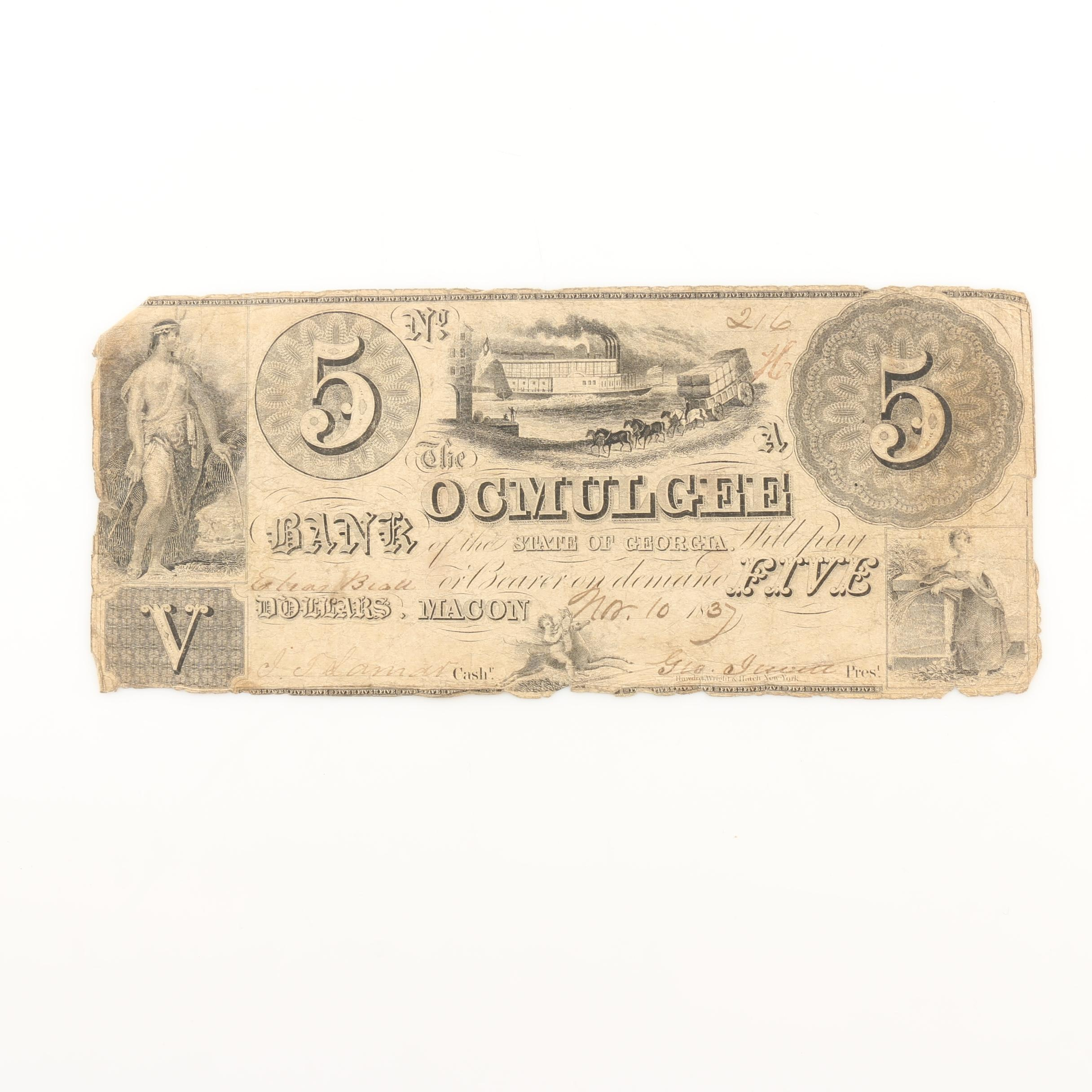 1837 Bank of Ocmulgee Five Dollars Obsolete Currency Note