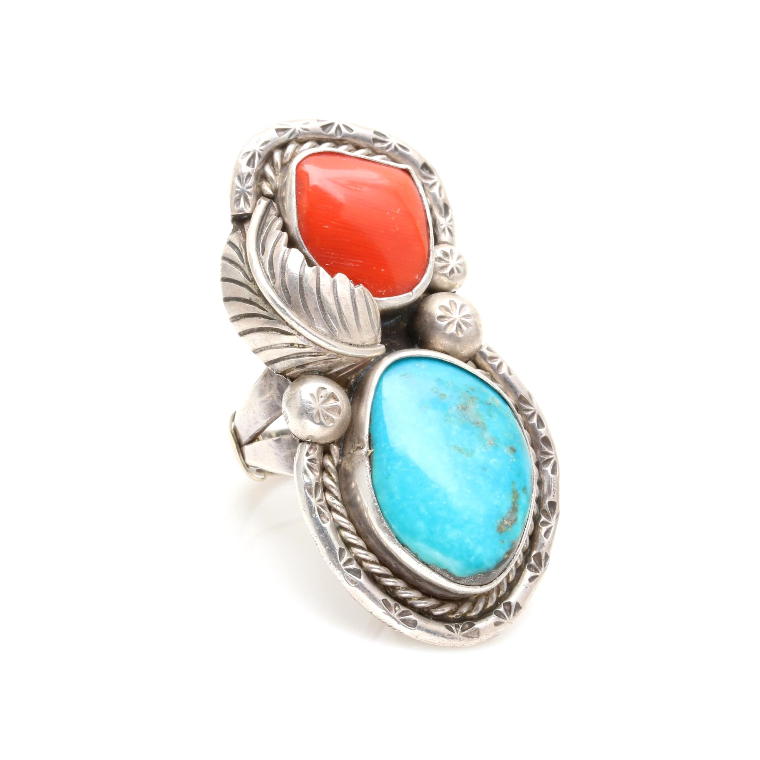 Southwest Style Sterling Silver Turquoise and Coral Ring