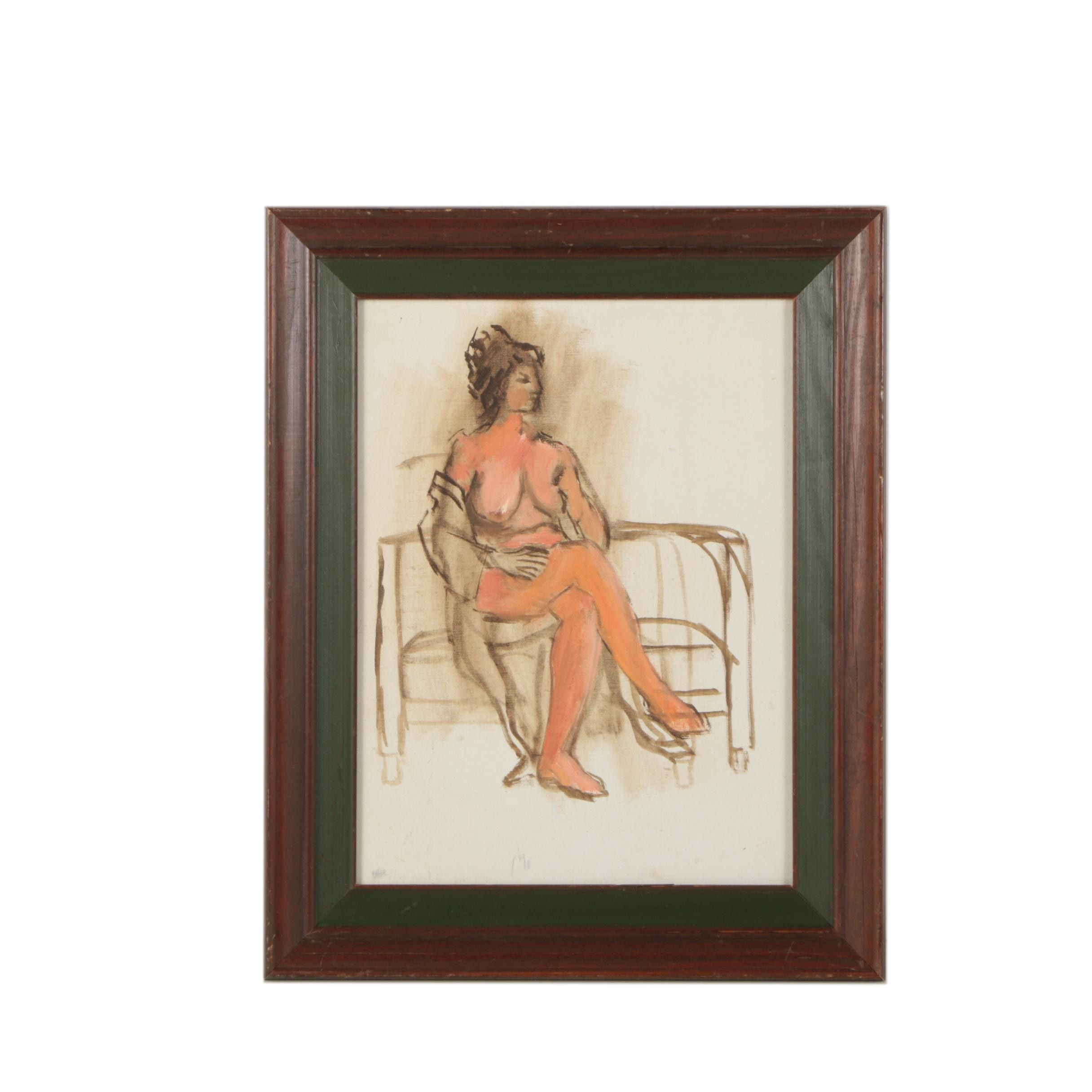 Oil Portrait Painting of a Nude Woman