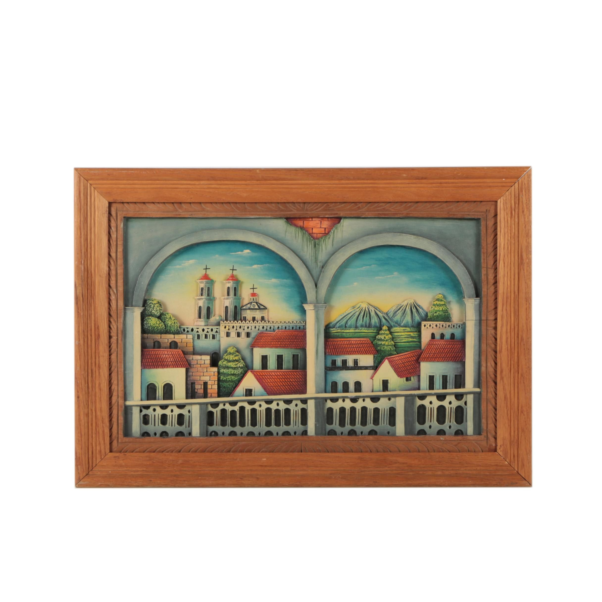 Low Relief Wall Decor of a Spanish Town