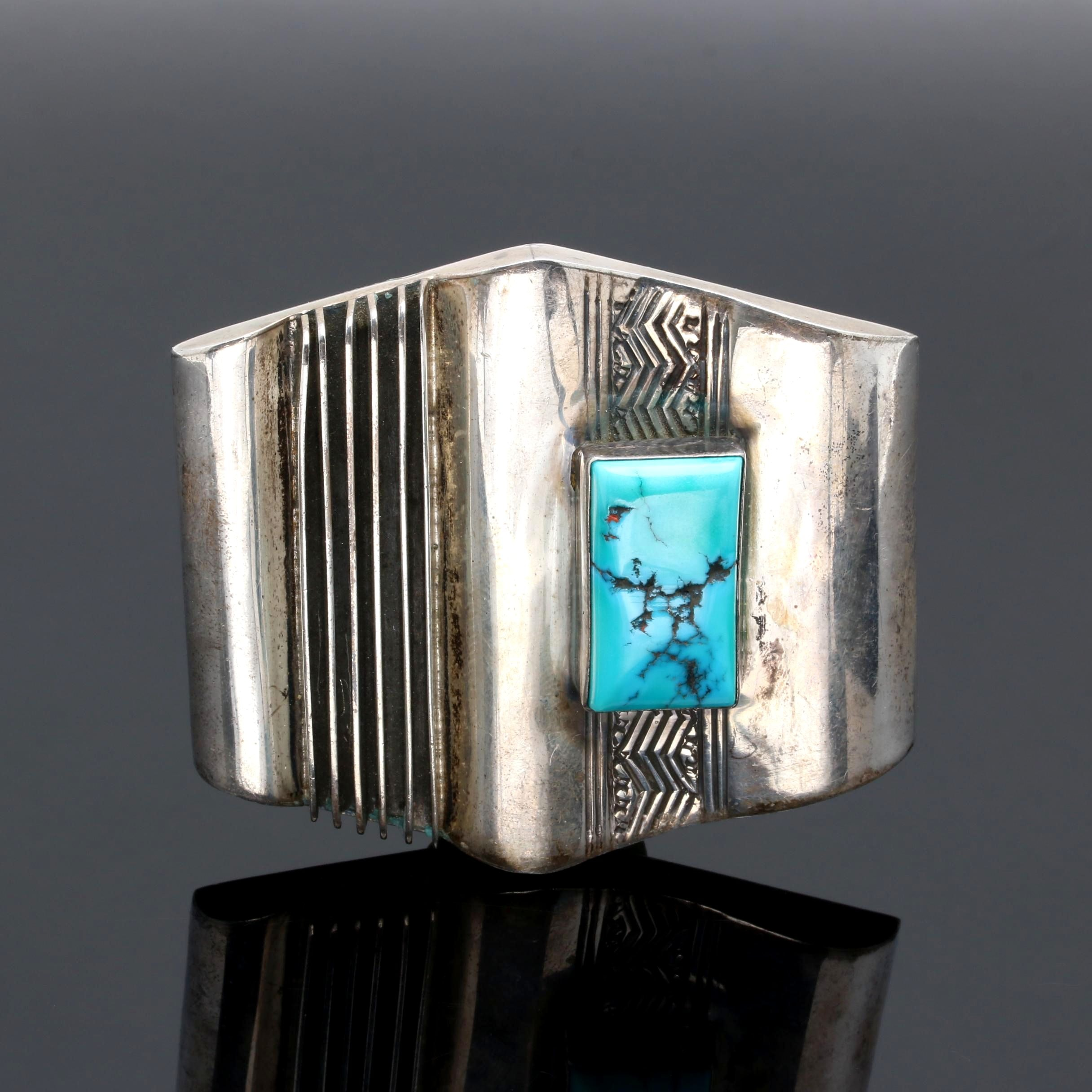 Southwestern Style Sterling Silver Turquoise Belt Buckle