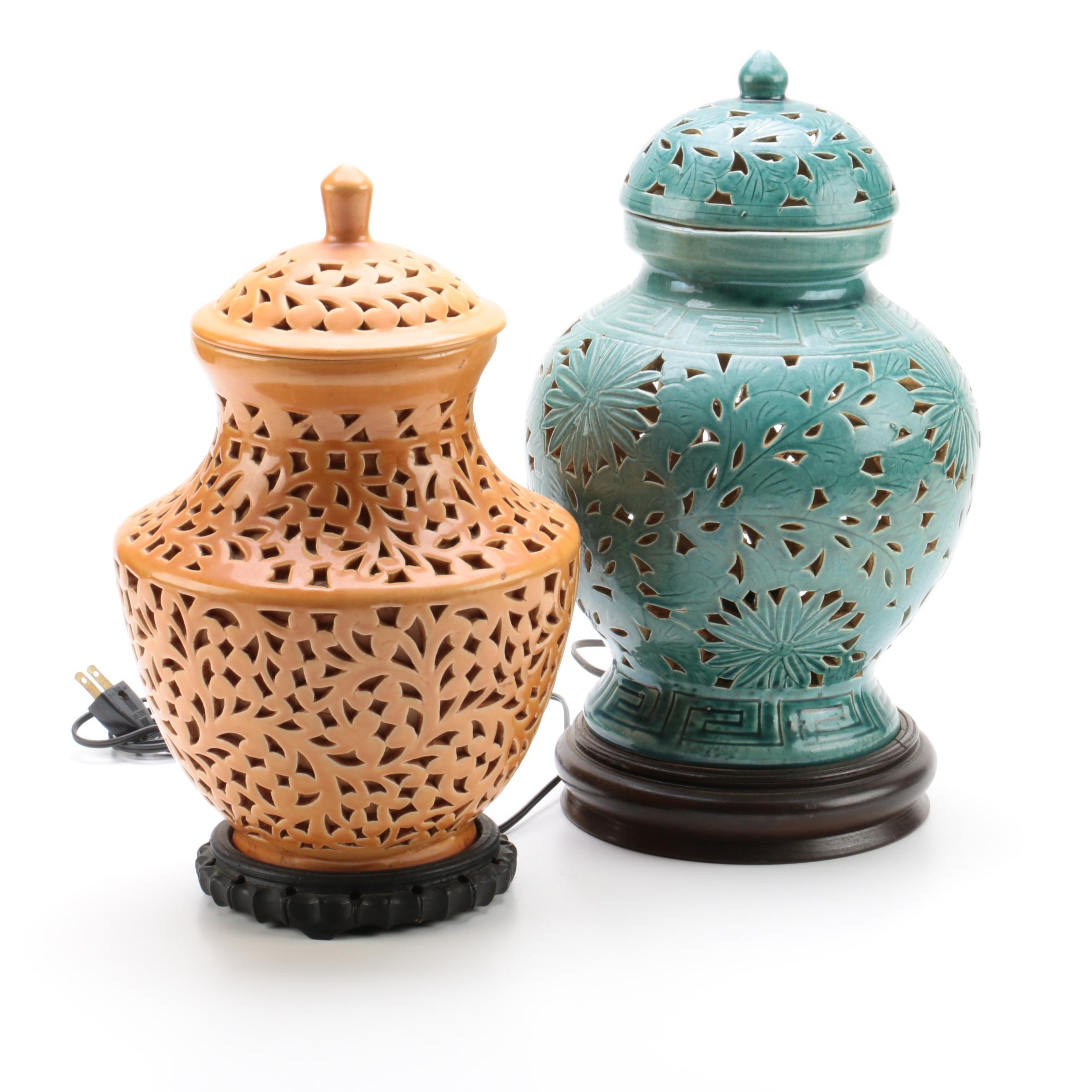 Ceramic Ginger Jar Accent Lamps