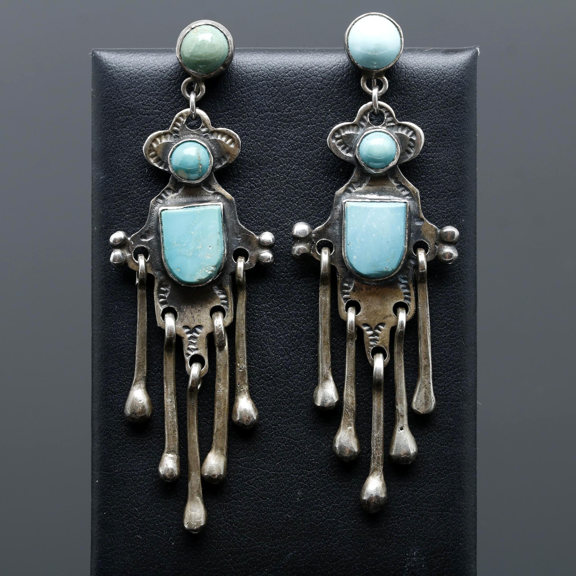 Southwestern Style Sterling Silver Turquoise Drop Earrings