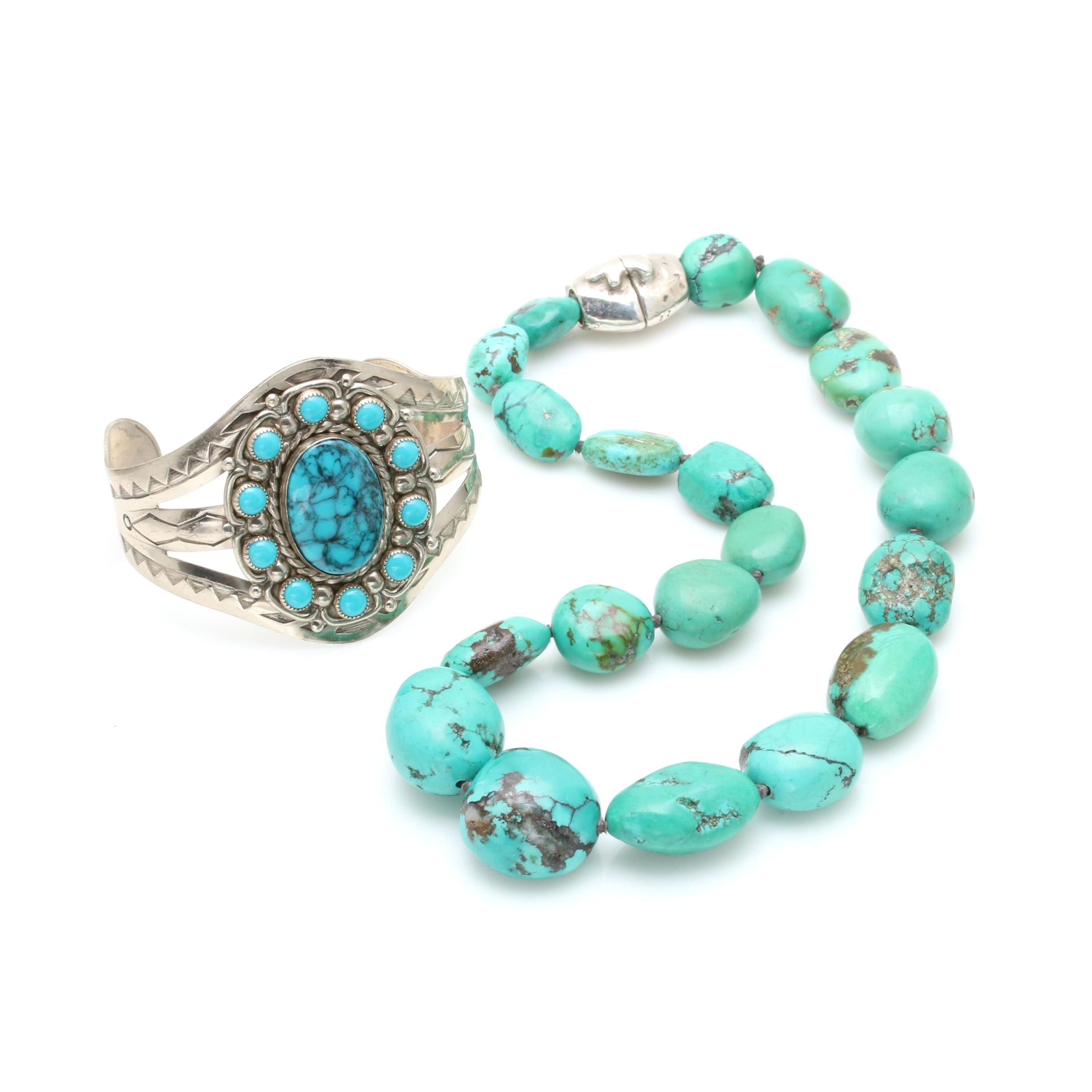Southwestern Style Imitation Turquoise Cuff and Sterling Silver Howlite Necklace