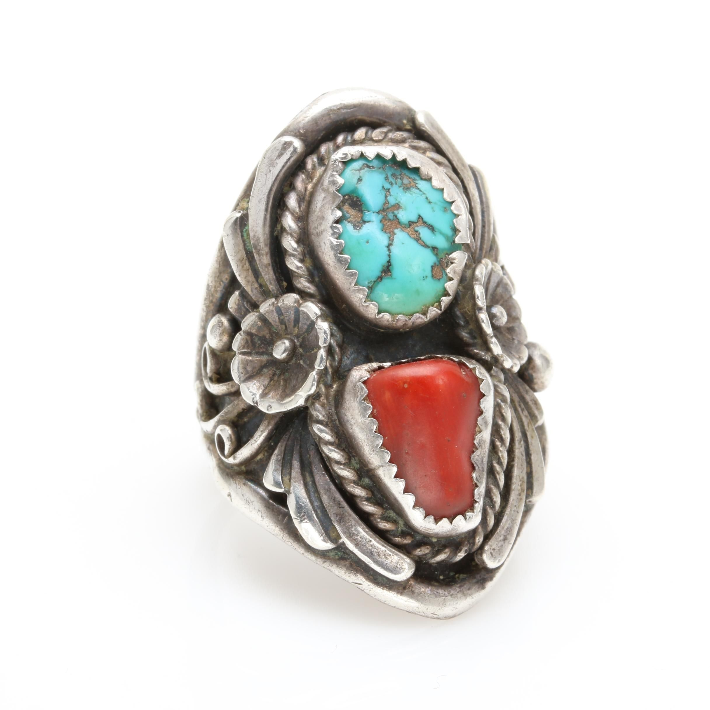 Southwestern Style Sterling Silver Turquoise and Coral Ring