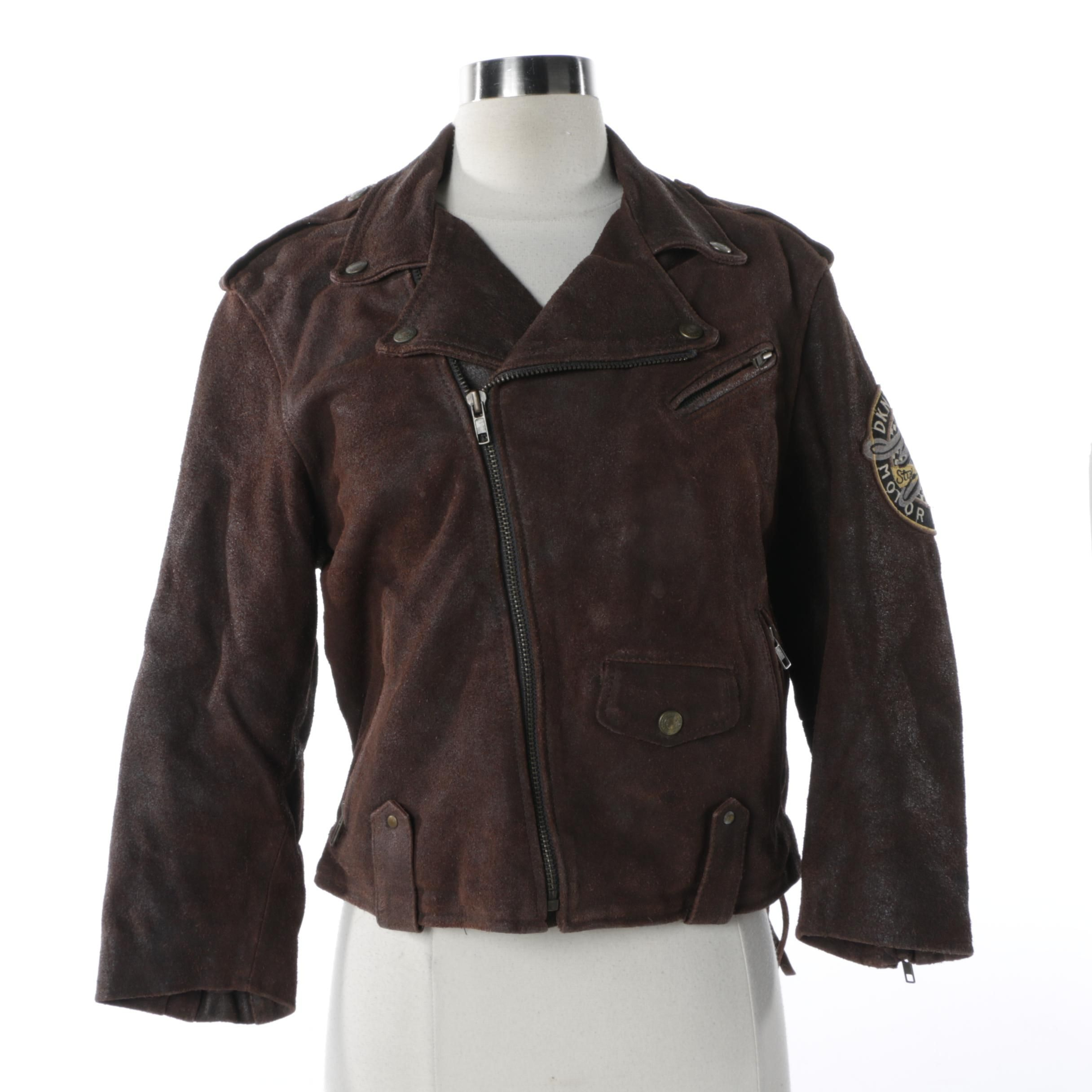 Women's DKNY Brown Leather Motorcycle Style Jacket