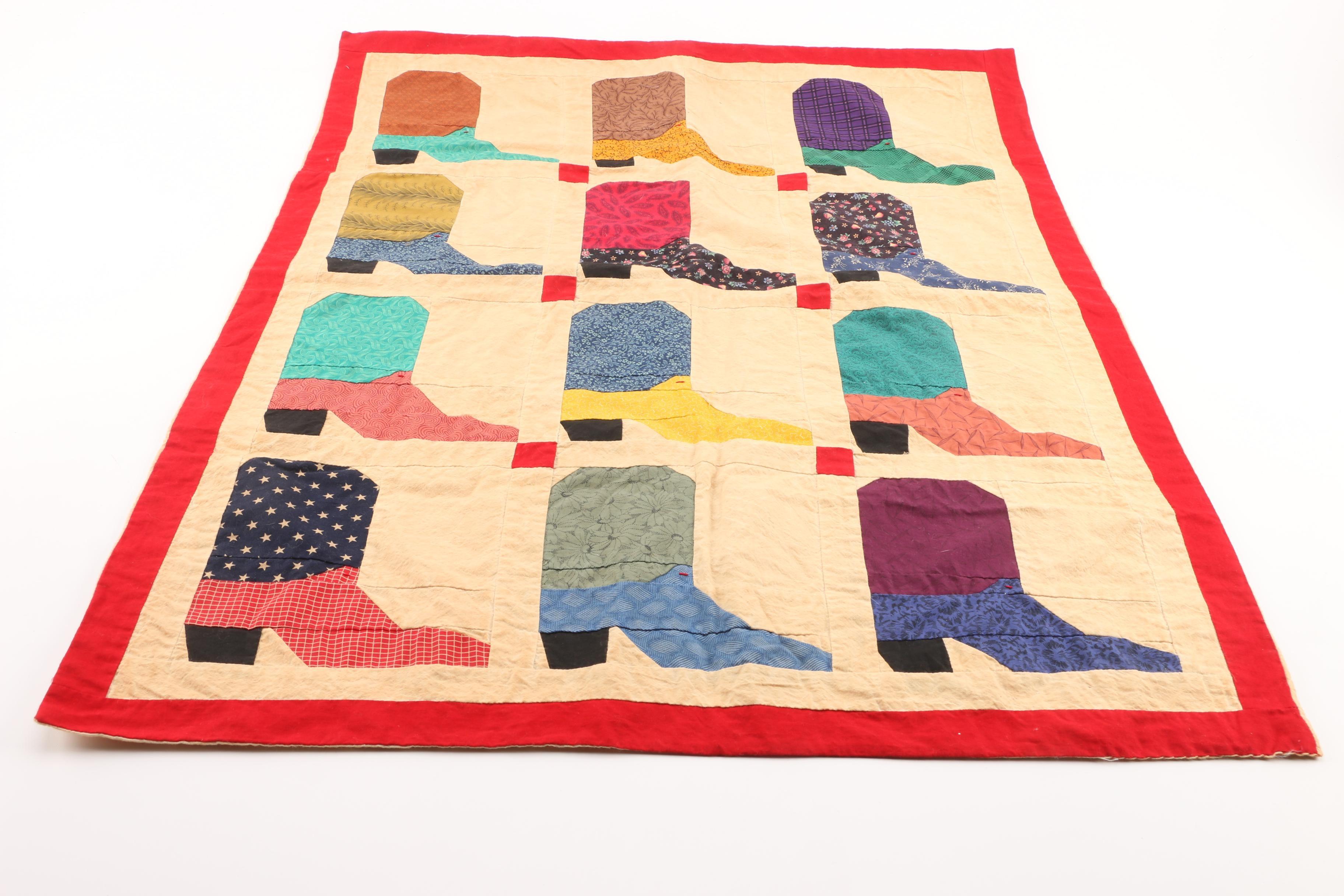 Handmade Cowboy Boot Quilt