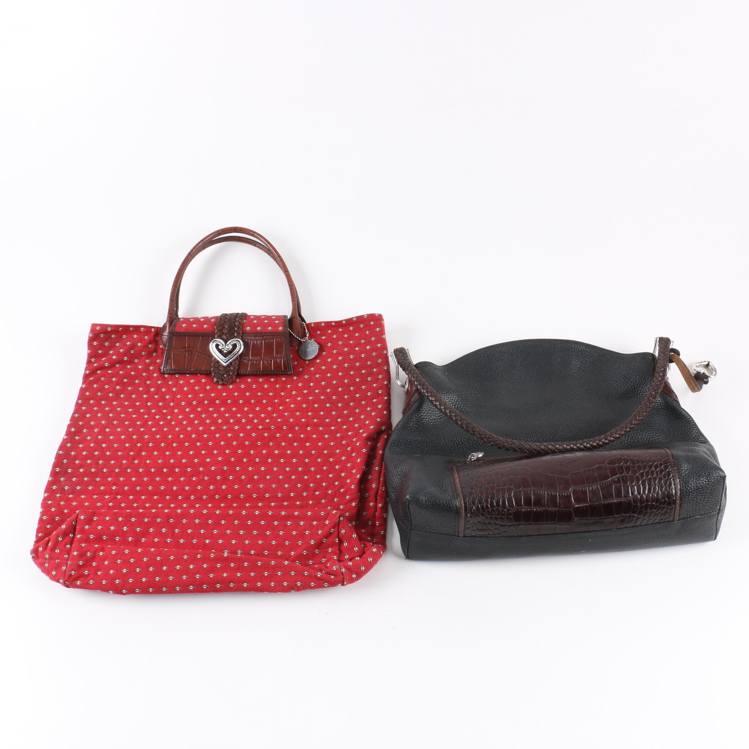 Brighton Embossed Leather and Red Canvas Handbags