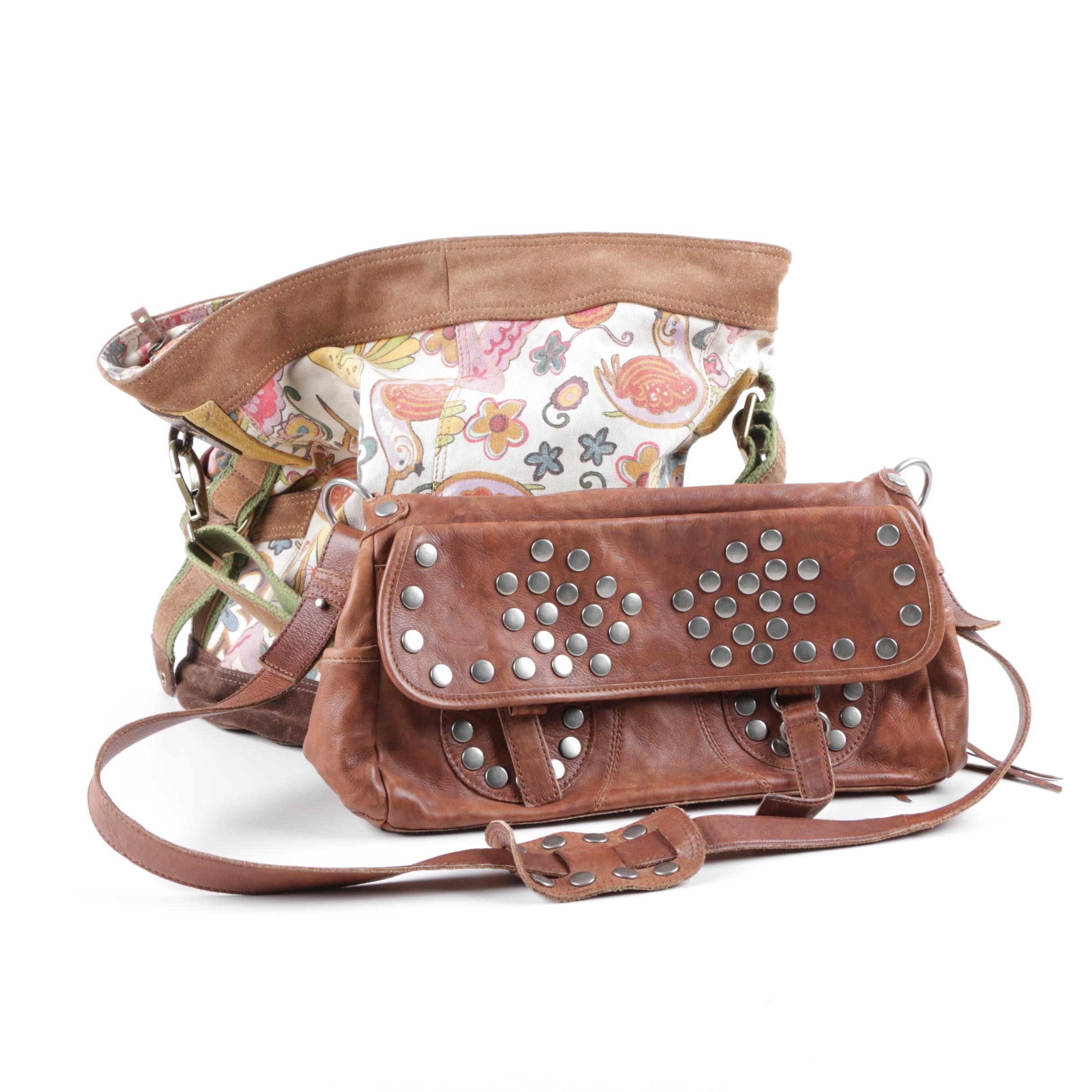 Steve Madden Leather with Lucky Canvas and Leather Handbags