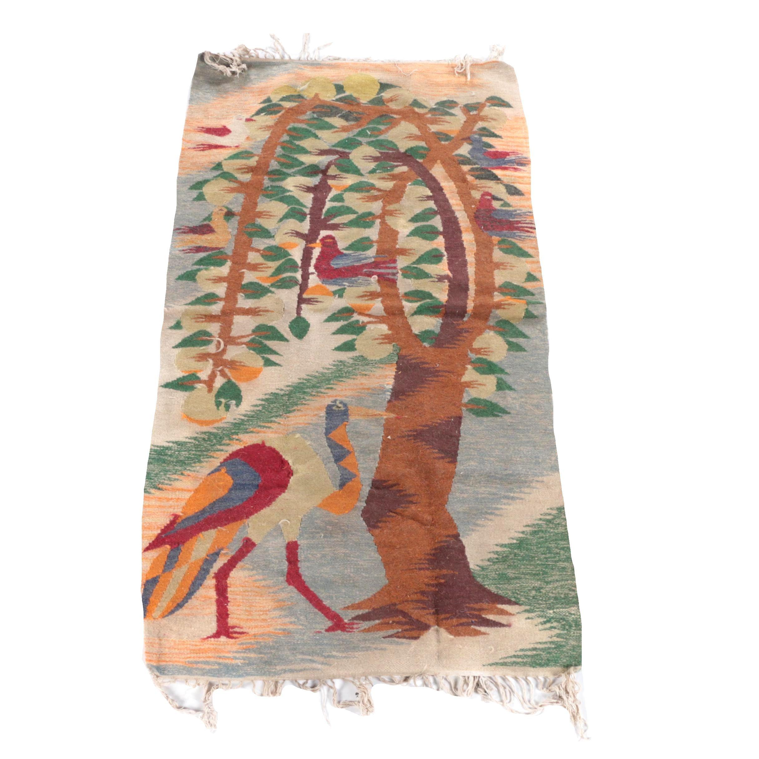 Handwoven Scandinavian-Style Pictorial Wool Kilim