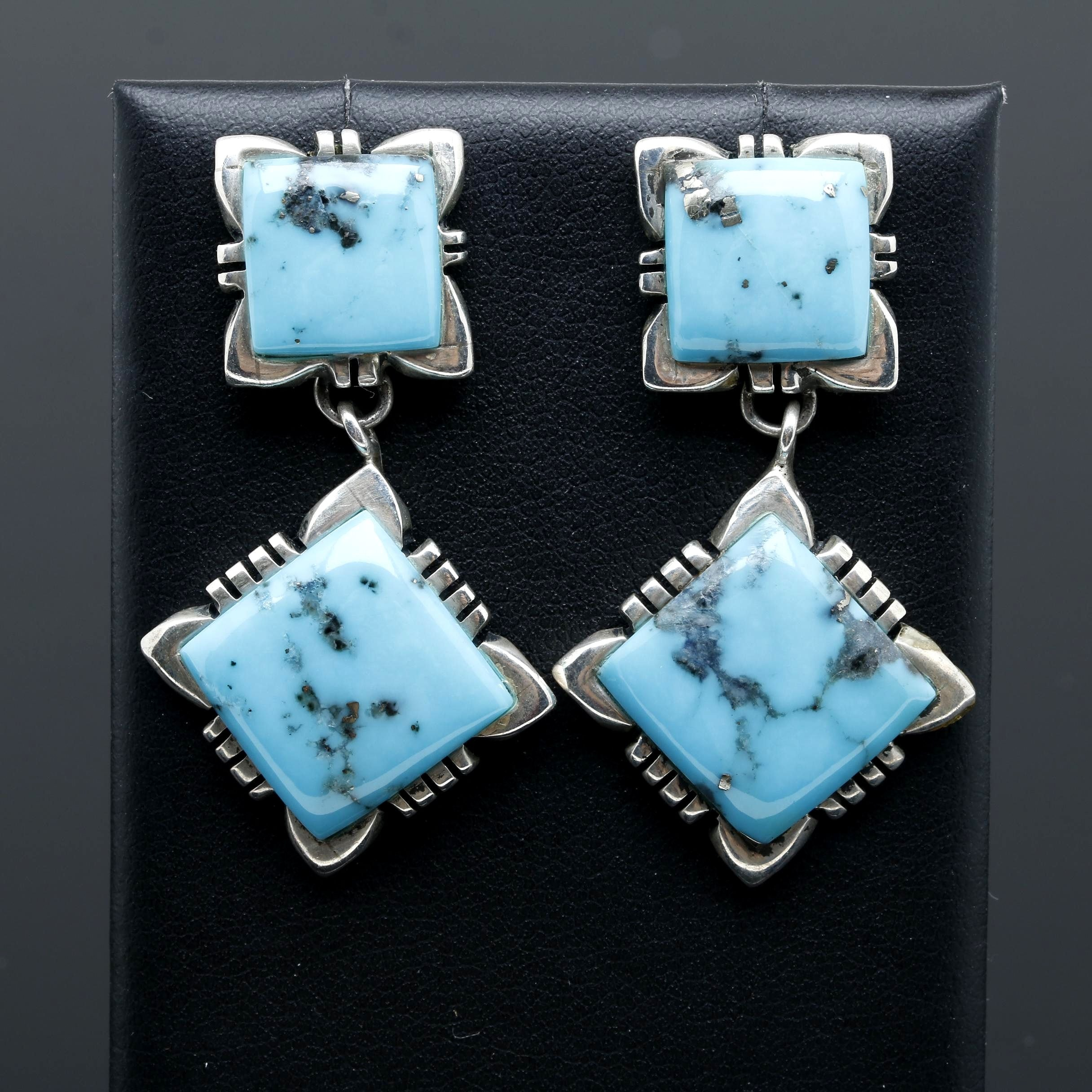 Troy Laner Navajo Dinè Sterling Silver Turquoise Earrings